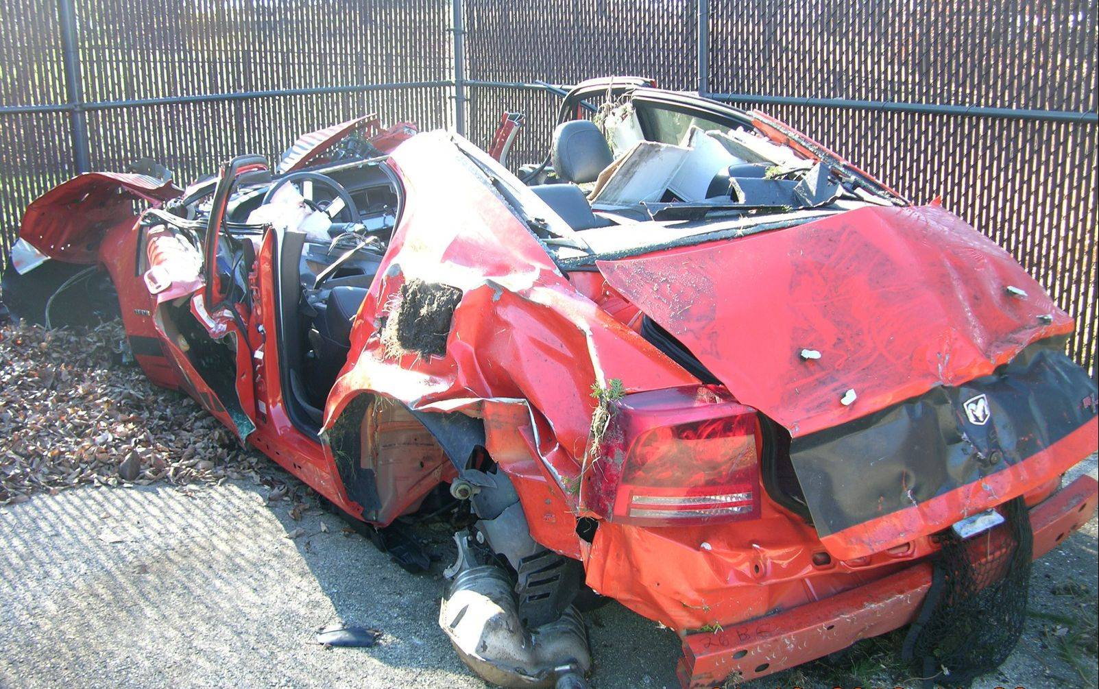 Dean Suominen's 2008 Dodge Charger was totaled in a January 2012 crash in which police say he was driving 142 mph on Ogden Avenue in Naperville. He pleaded guilty Tuesday to DUI and reckless driving.