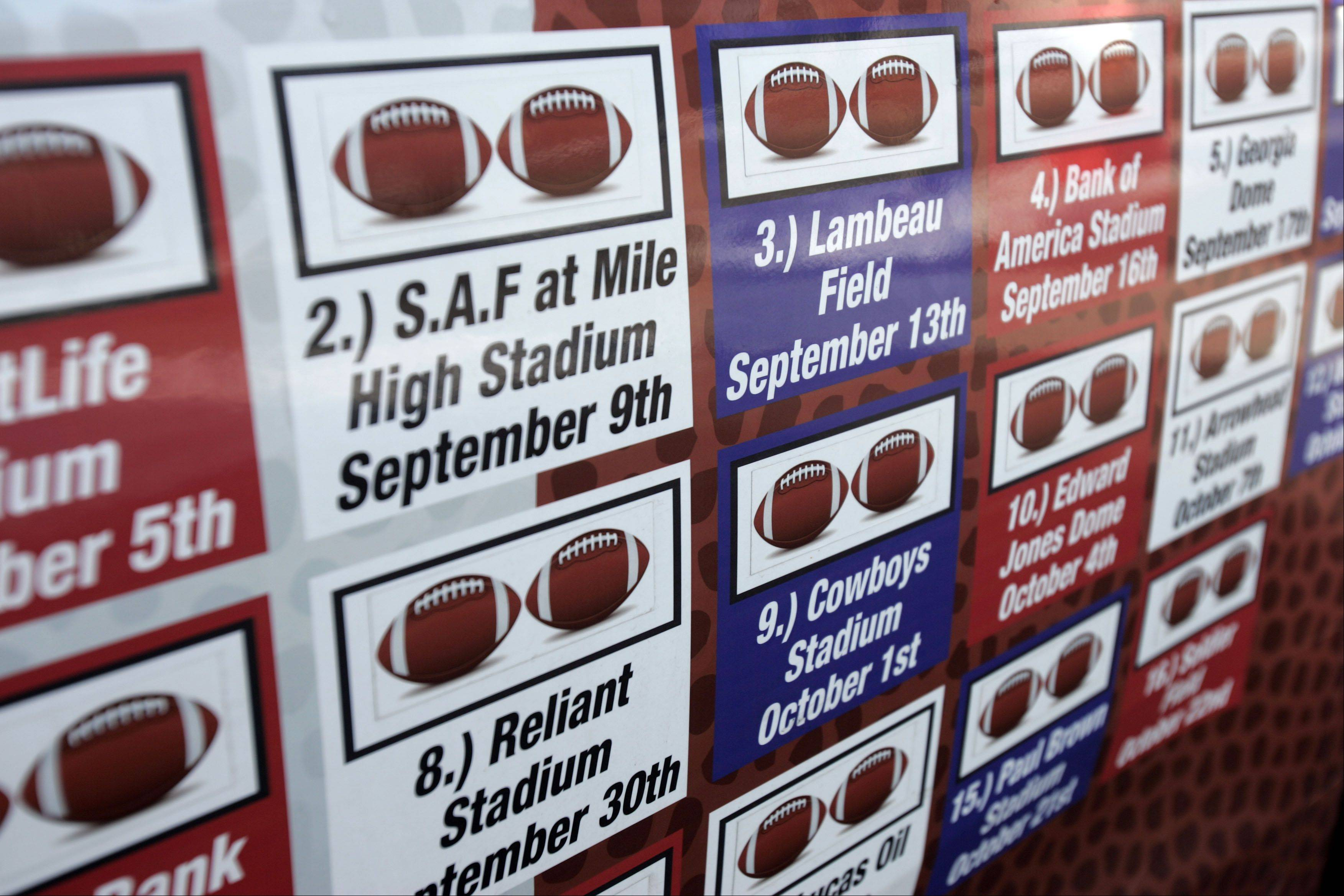 The Steichen van is adorned with the dates of the games that they brought wounded veterans with them on their mission to visit all 32 NFL stadiums in 15 weeks.
