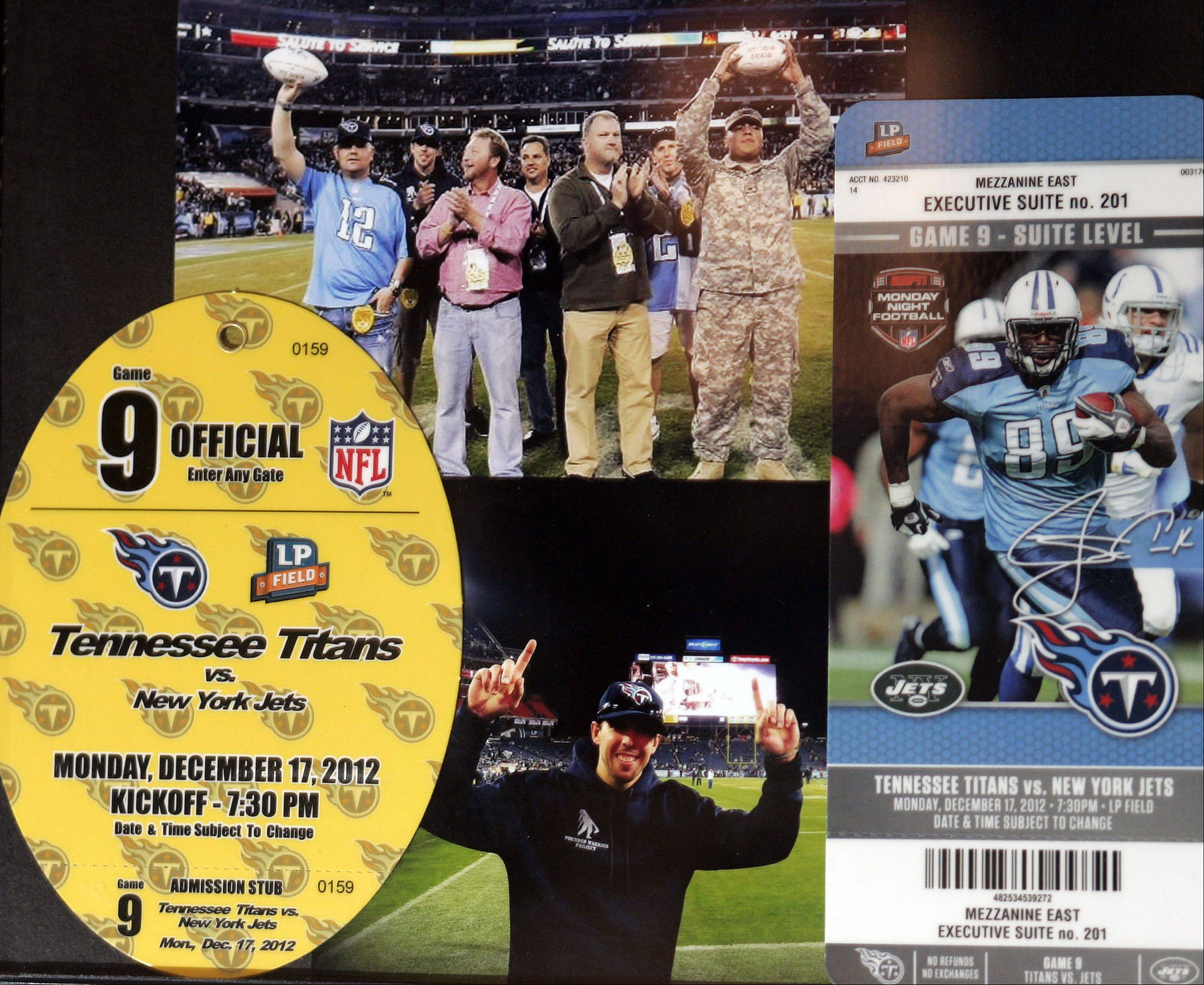 A picture collage from the Tennessee Titans game. Craig Steichen, of Bartlett, and his son, Matt of St. Charles, brought wounded veterans with them on their mission to visit all 32 NFL stadiums in 15 weeks.