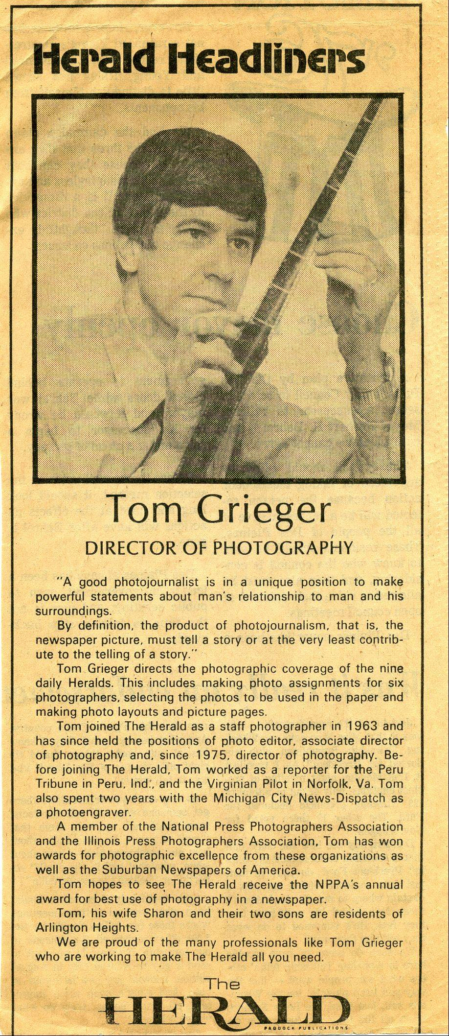 A clipping from the Daily Herald in 1976 profiling Director of Photography Tom Grieger.