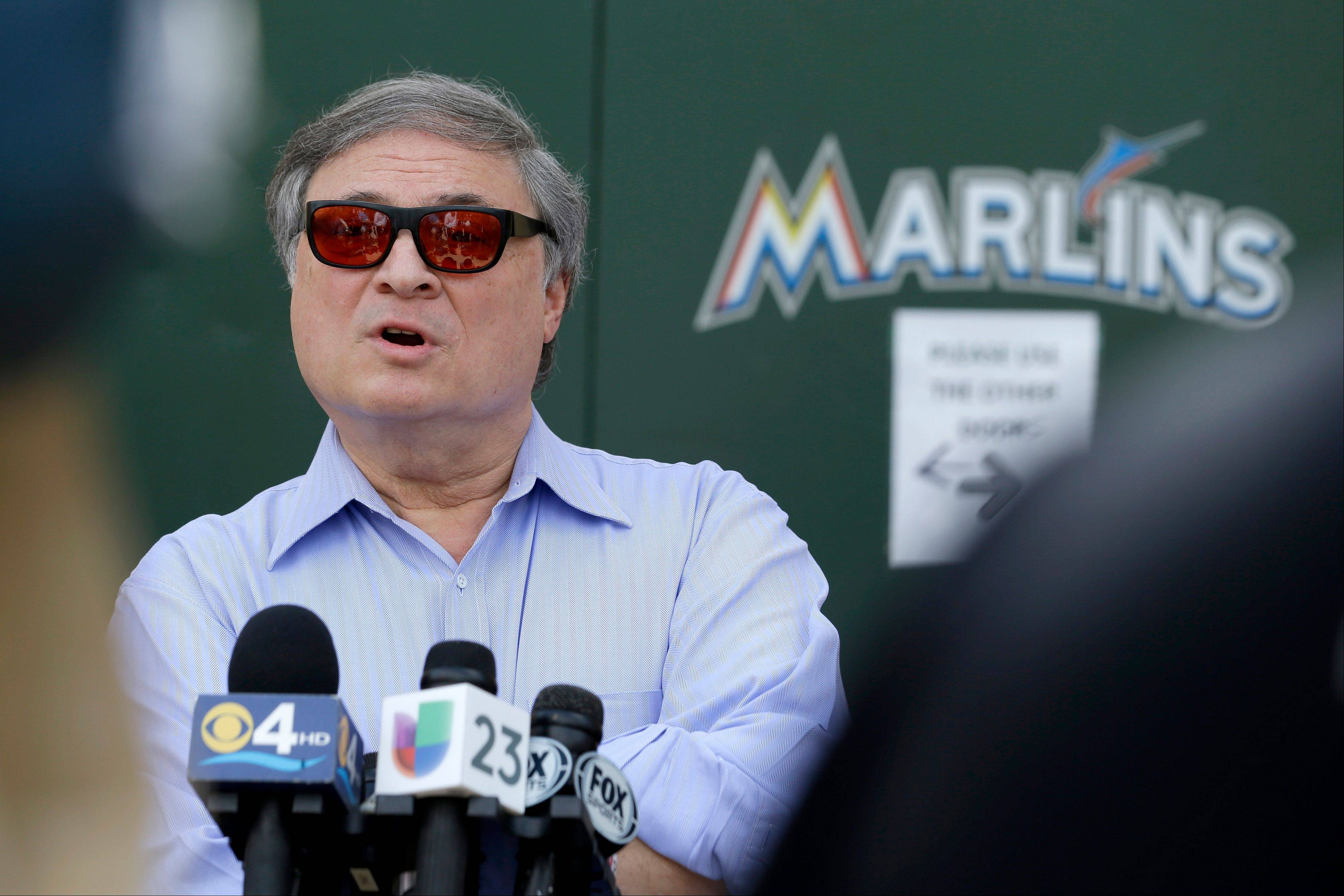 Miami Marlins owner Jeffrey Loria cut short a news conference outside of the team's spring training facility after he was peppered with questions about his reduced payroll and breakup of last year's team.
