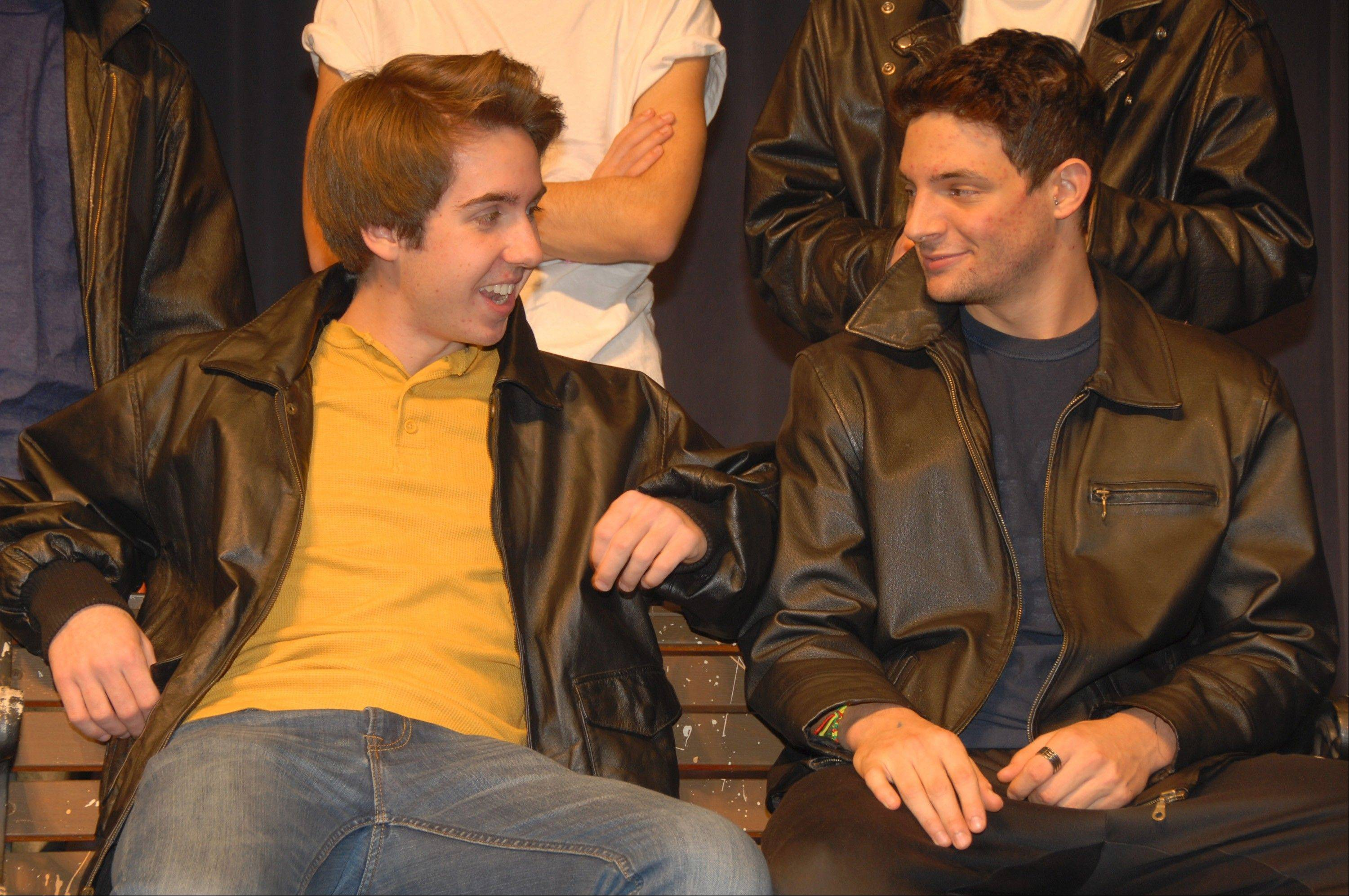 "Kenickie and Danny in a scene from South Elgin High School's production of ""Grease."" From left are Bradley Smith and Nick LaMore."