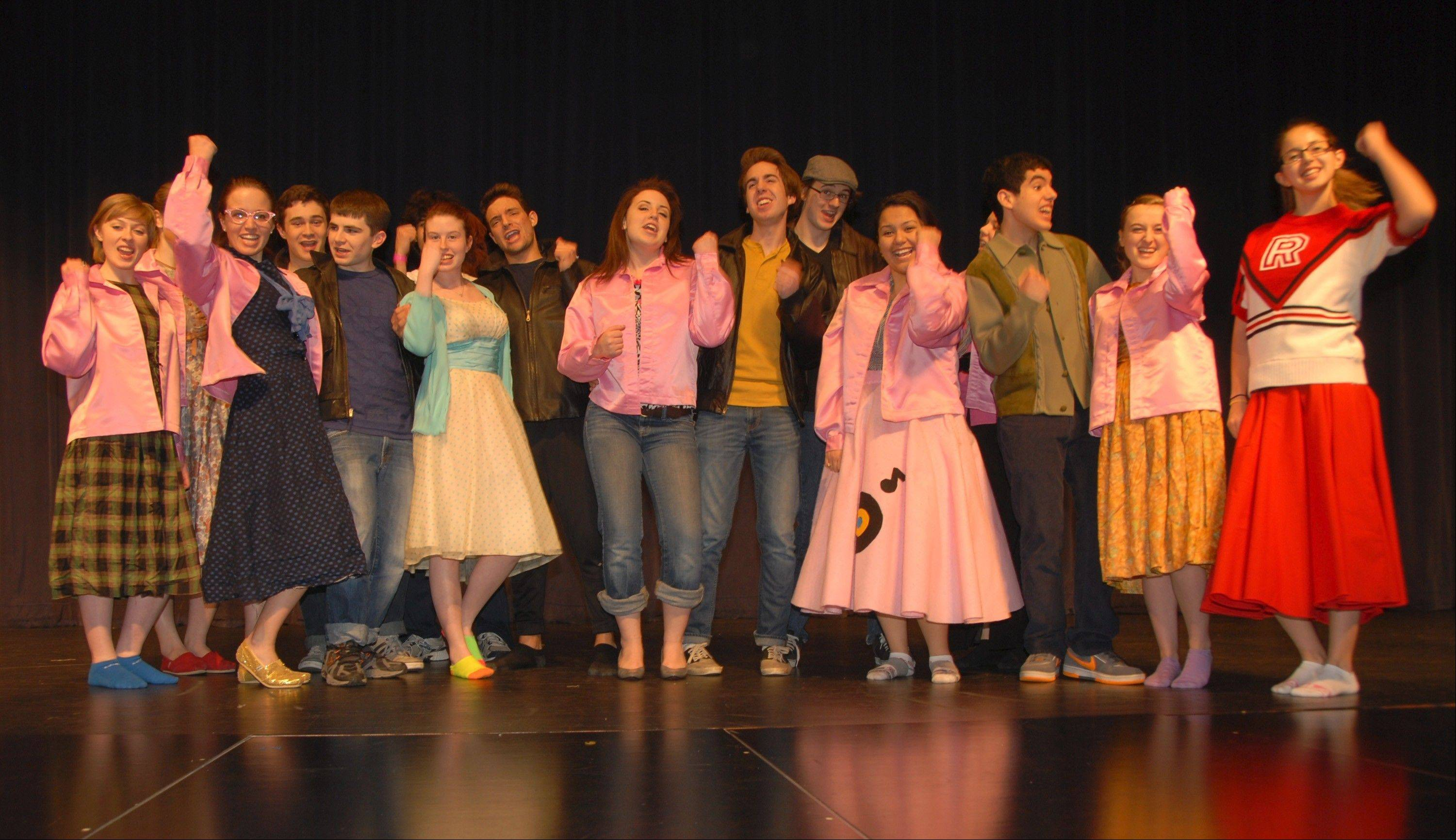 "The ""Grease"" cast sings ""We Go Together."" From left: Sarah Welz, Emmalee Gutowsky, Joseph Beaty, Brett Meyer, Joelle Kasprisin, Nick LaMore, Haley Panico, Bradley Smith, Brad Wendt, Karen Almanza, Justin Santostefano, Hannah Niesley and Hannah Schutzkus."
