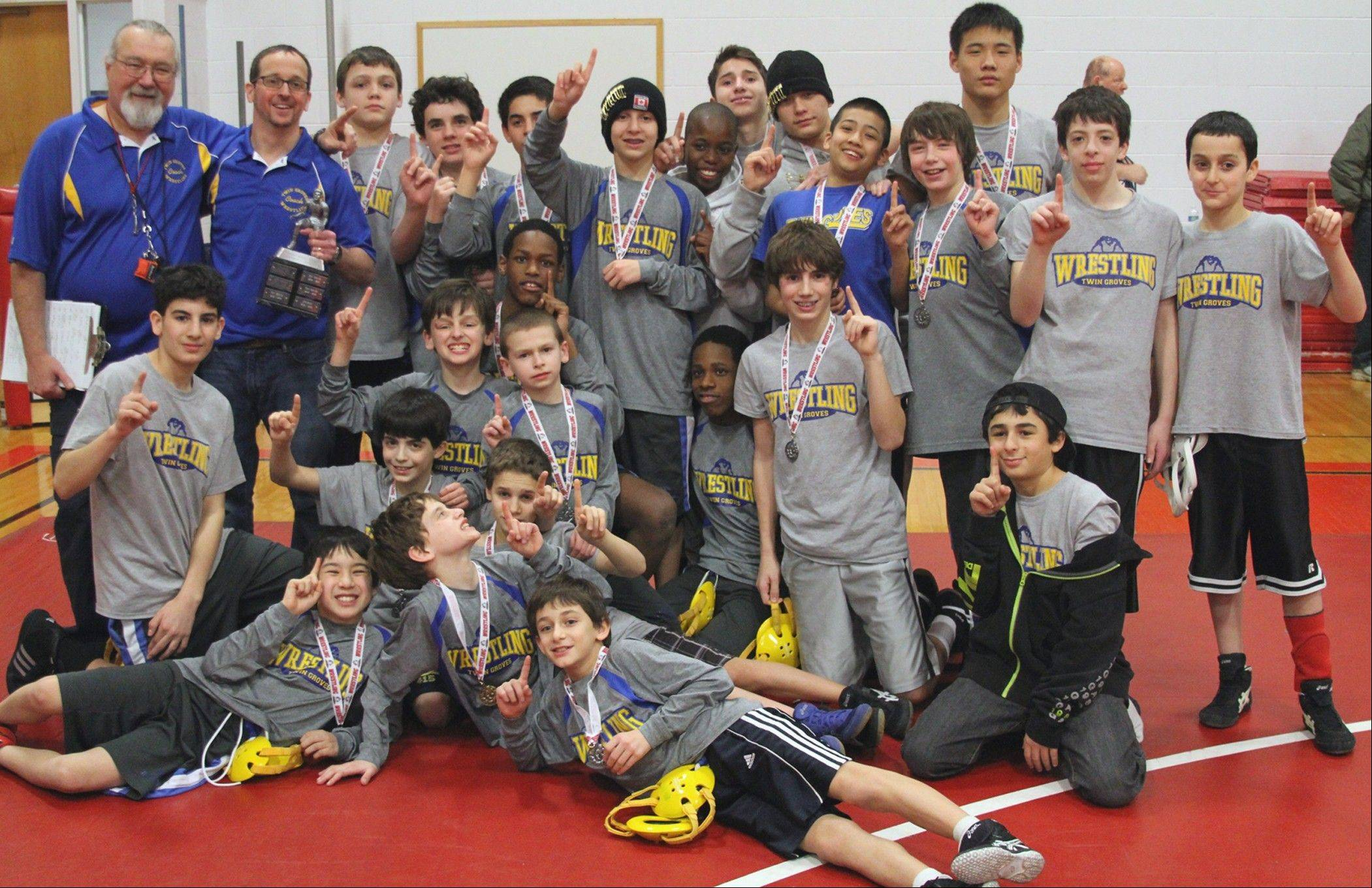 Twin Groves wrestlers claimed the school's fourth consecutive Patriot Athletic Conference Championship.