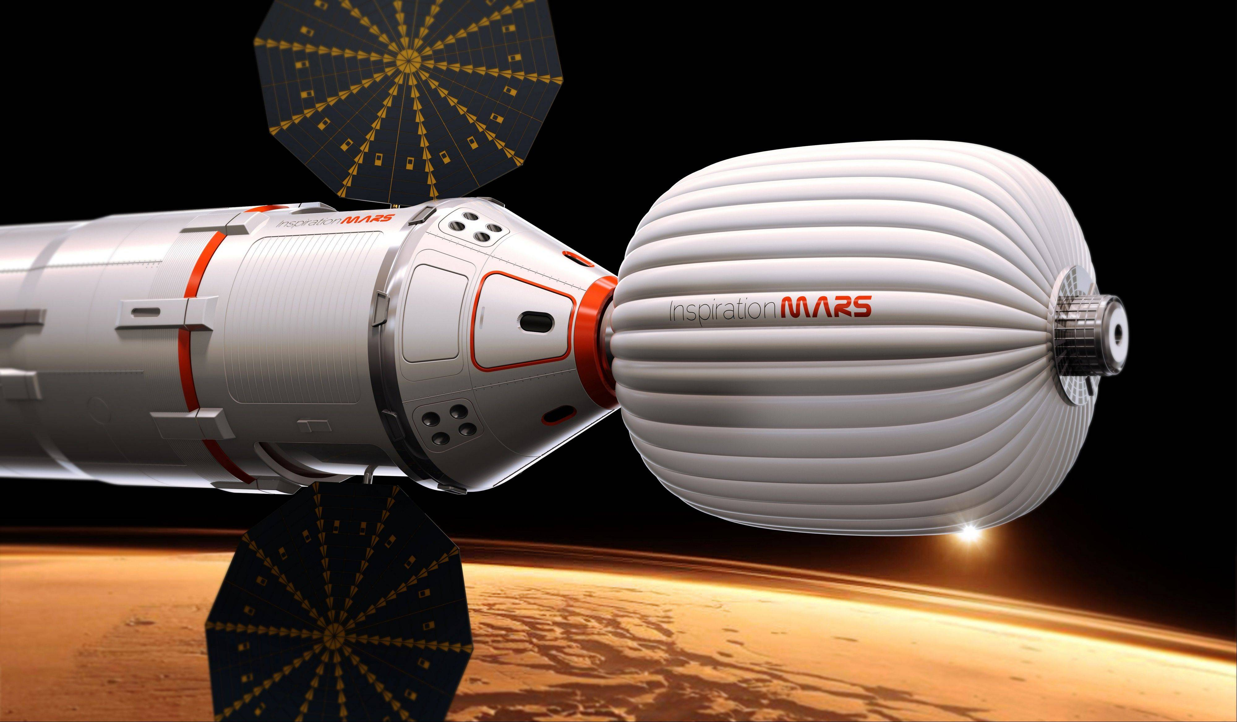 A drawing provided by Inspiration Mars shows an artist�s conception of a spacecraft envisioned by the private group, which wants to send a married couple on a mission to fly close to the red planet and zip back home, beginning in 2018.