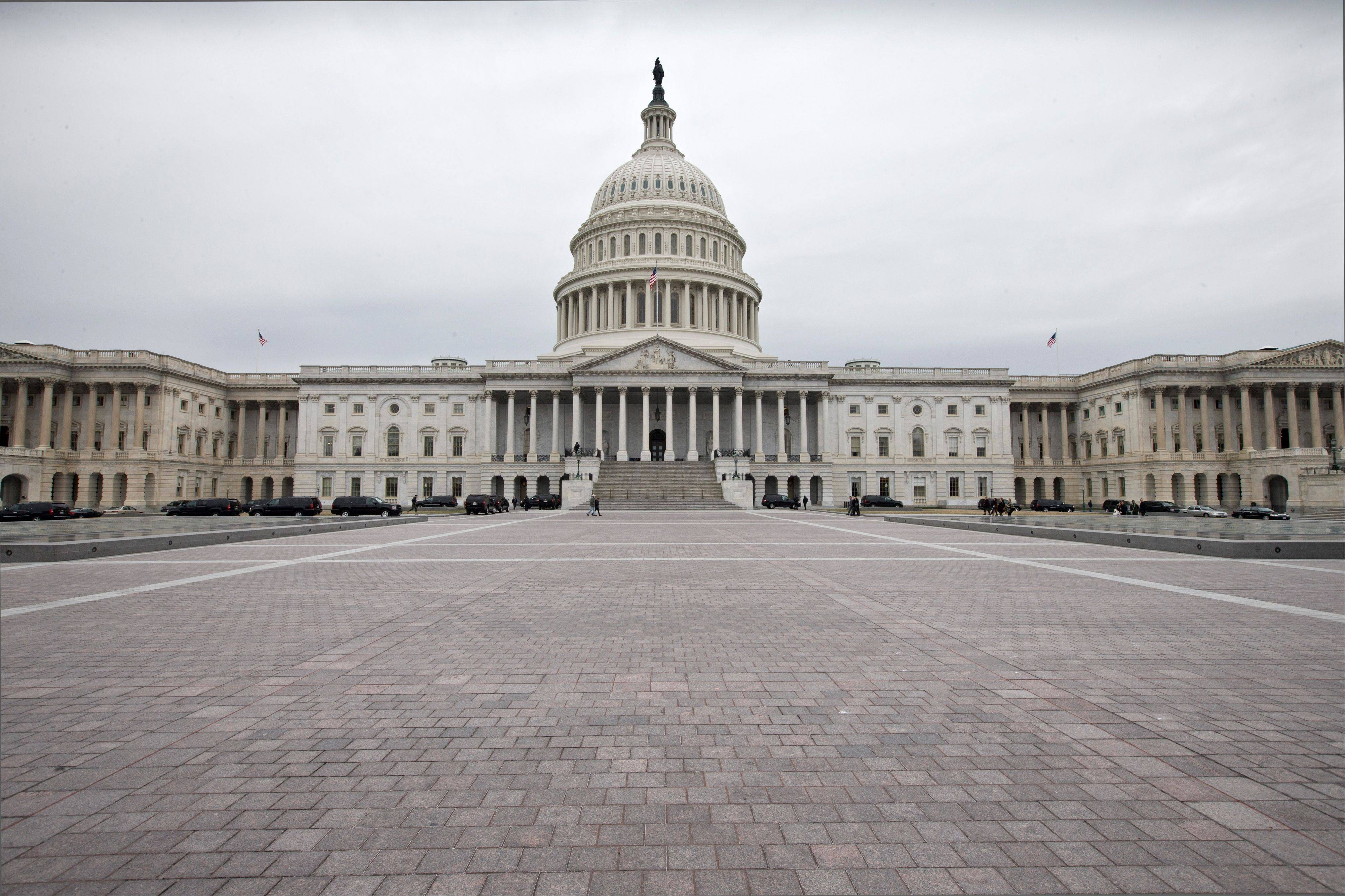 The Capitol plaza is seen as automatic spending cuts are set to take effect on March 1.