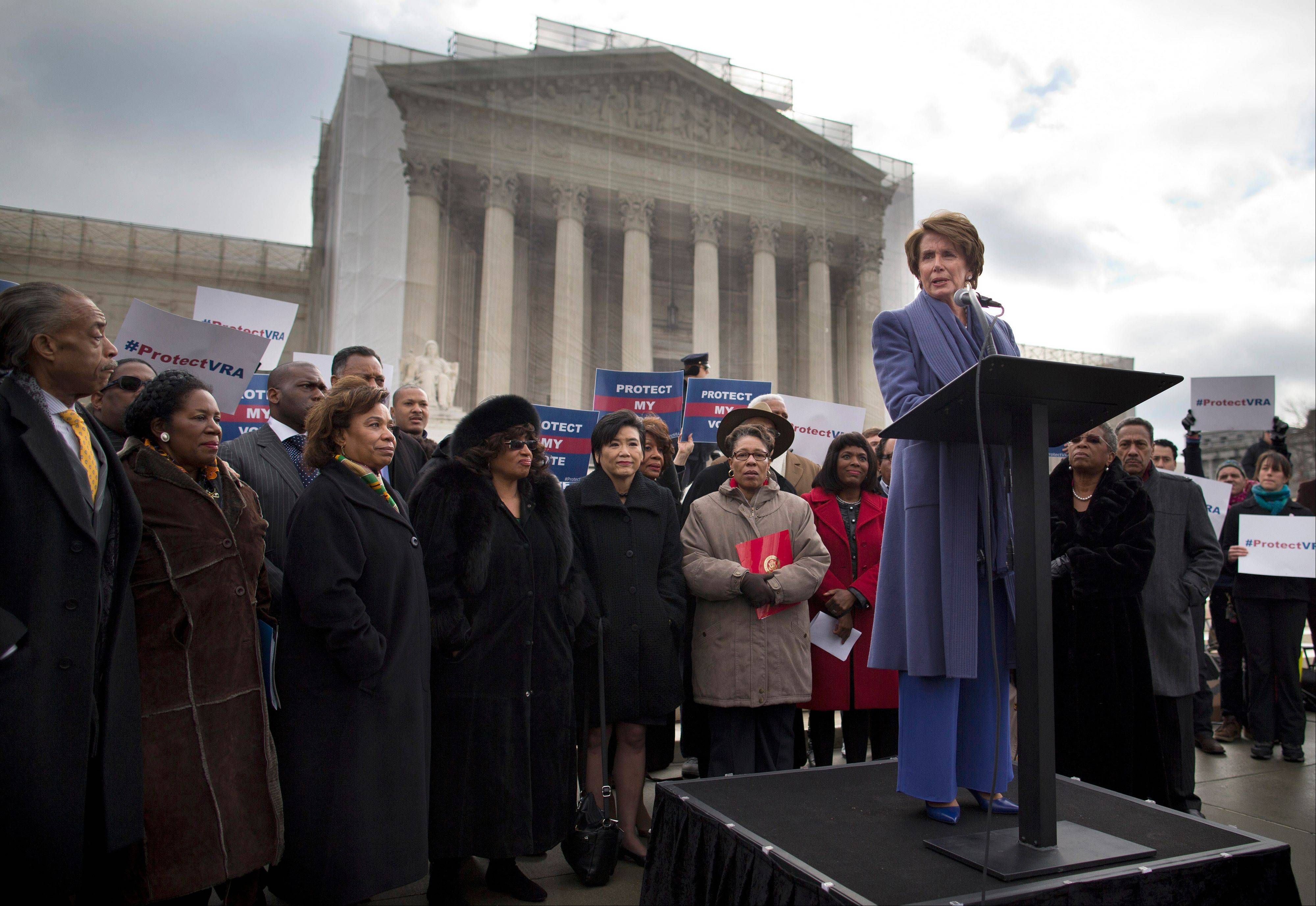 House Minority Leader Nancy Pelosi of Calif.,speaks during a rally Wednesday outside the Supreme Court in Washington.
