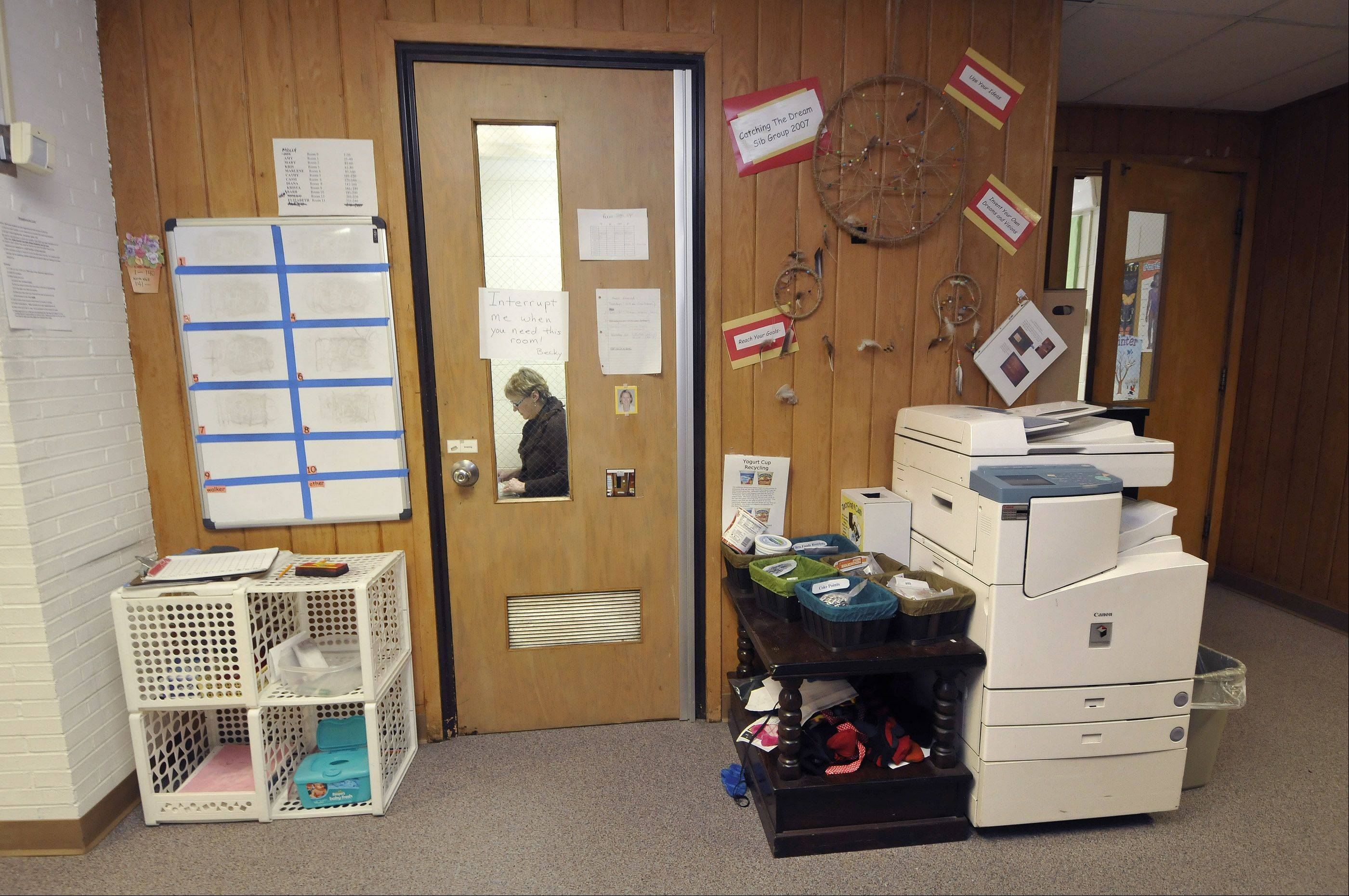 Wheaton Warrenville Unit District 200 officials say outdated facilities at the Jefferson Early Childhood Center in Wheaton force school psychologist Becky Rosenthal to meet with students in a former closet. A copy machine, meanwhile, is kept in the hallway because there isn't room for it elsewhere.
