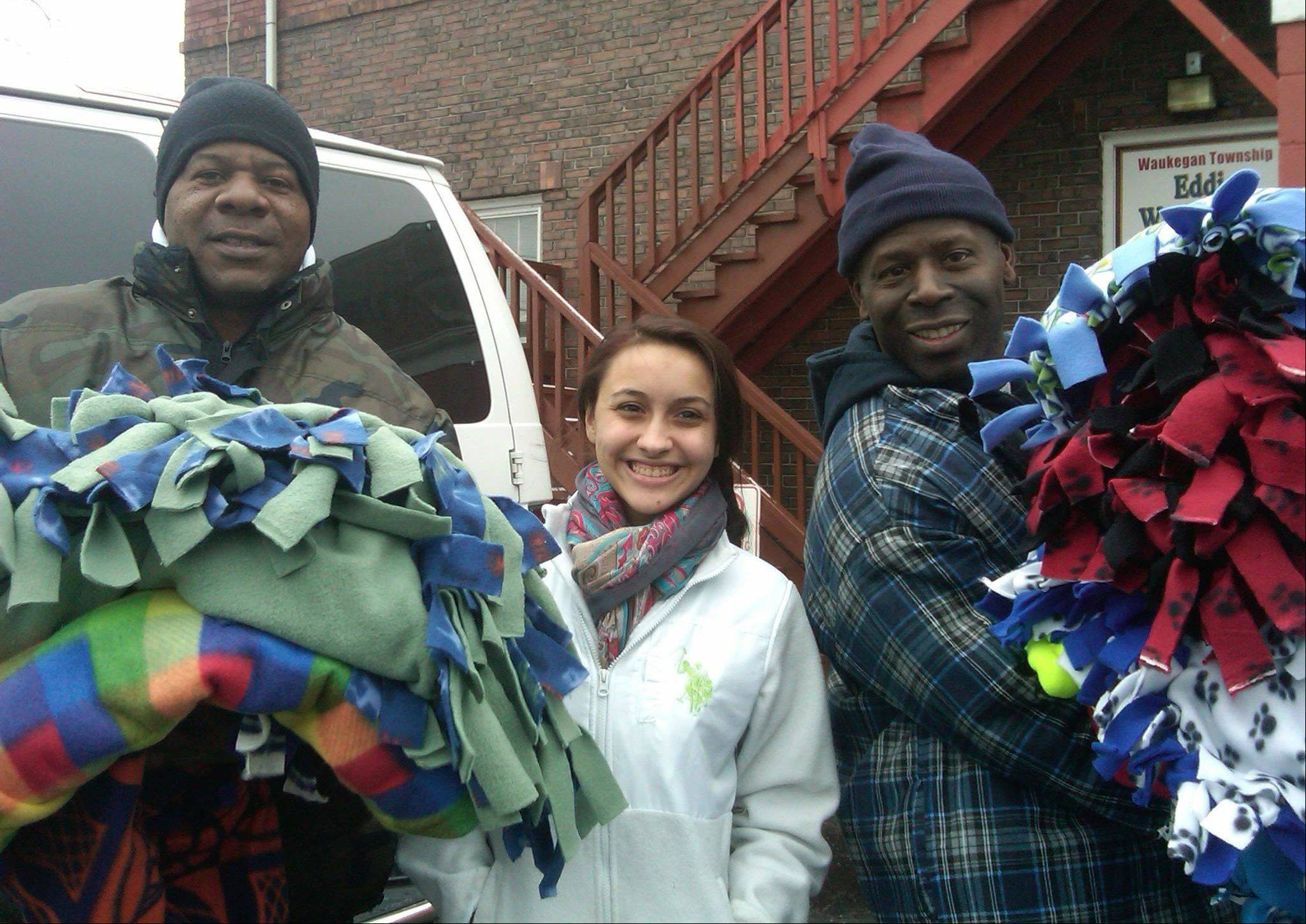 Blankets delivered to the Staben House in Waukegan by Maddie Oliver.