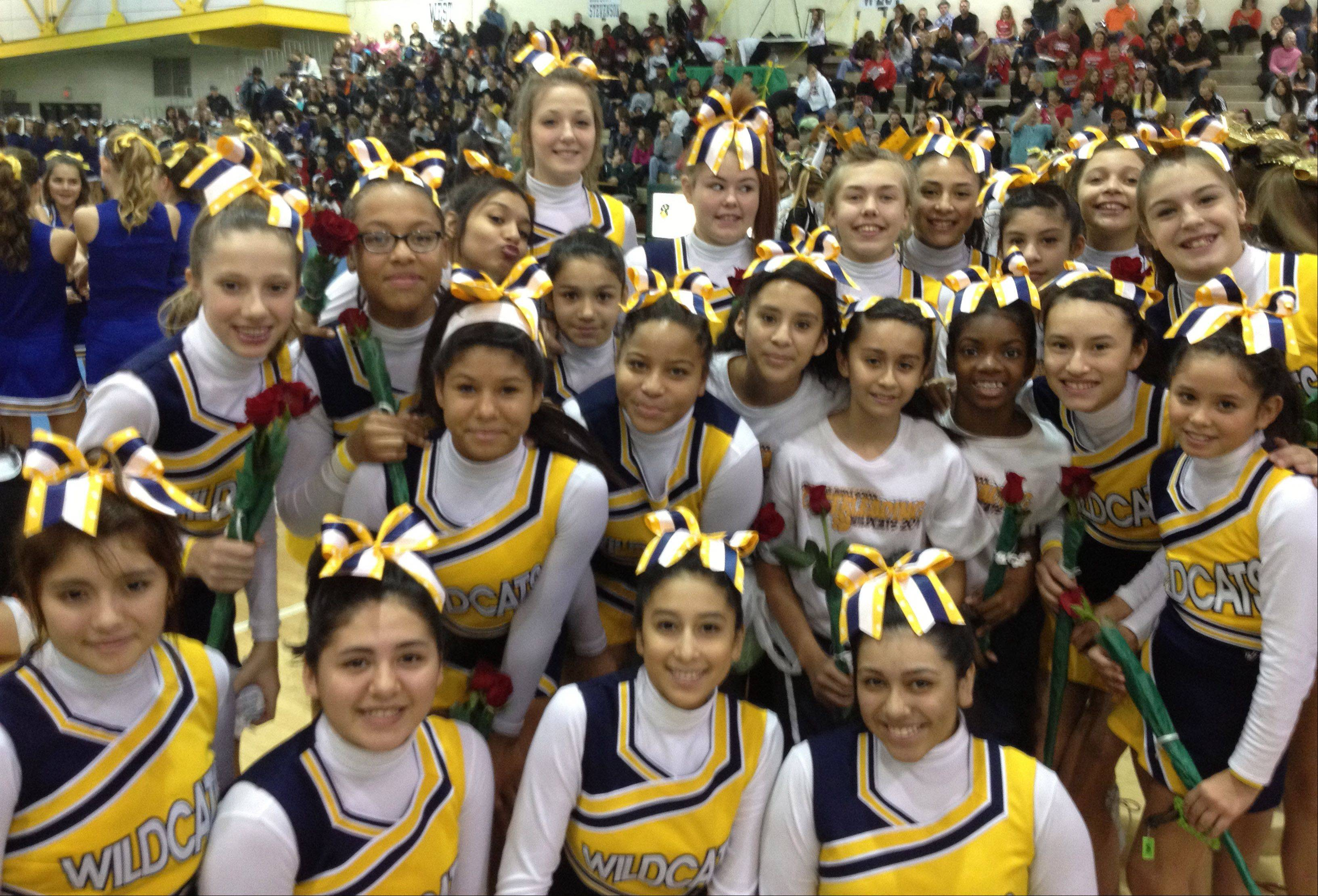 Round Lake Middle School took first place for the second year in a row in the Large Cheer Division at the Stevenson High School Cheer Invitation.