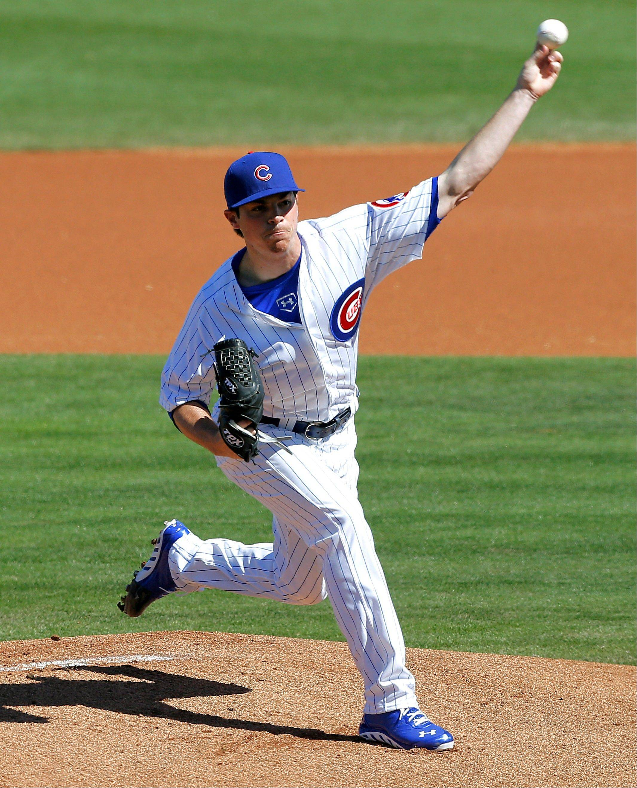Chicago Cubs' Brooks Raley delivers a pitch against the Los Angeles Dodgers during the first inning of an exhibition spring training baseball game, Wednesday, Feb. 27, 2013, in Mesa, Ariz.