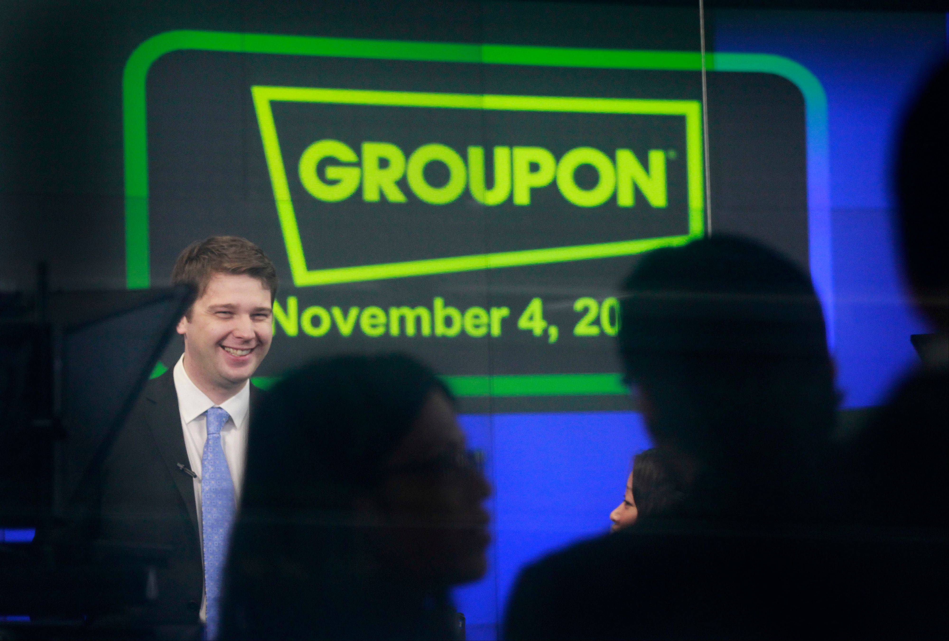 Andrew Mason, founder and CEO of Groupon, is seen on the day of his company's IPO, Nov. 4, 2011, in New York. Groupon's stock jumped nearly 50 percent in the opening minutes that day. But it has been a long downhill fall since then. Mason was fired Thursday.