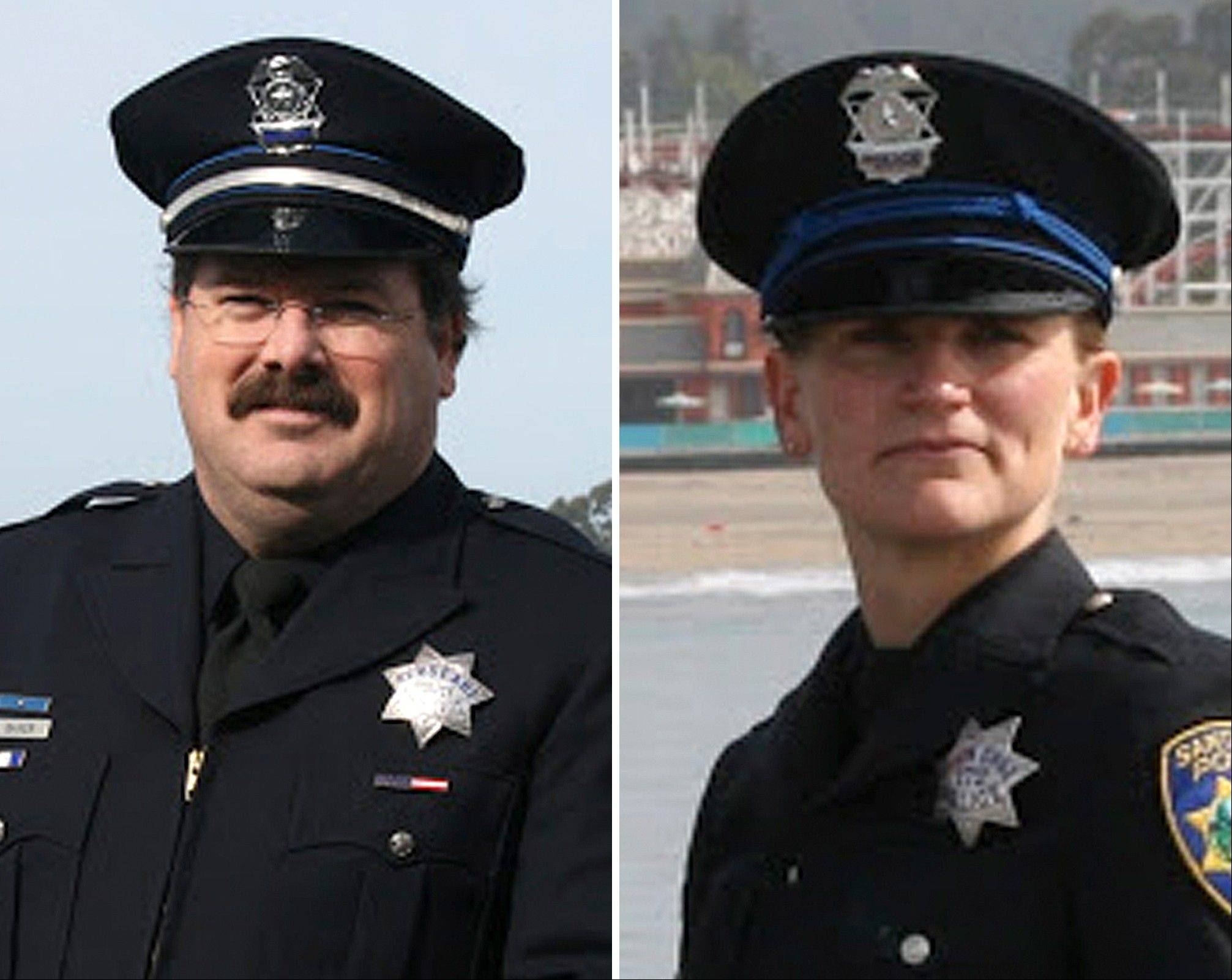 Santa Cruz police Sgt. Loran �Butch� Baker, left, and officer Elizabeth Butler were killed while responding to a sexual assault report Tuesday afternoon, Feb. 27, 2013 at the doorstep of a suspect who was chased down and killed half an hour later.