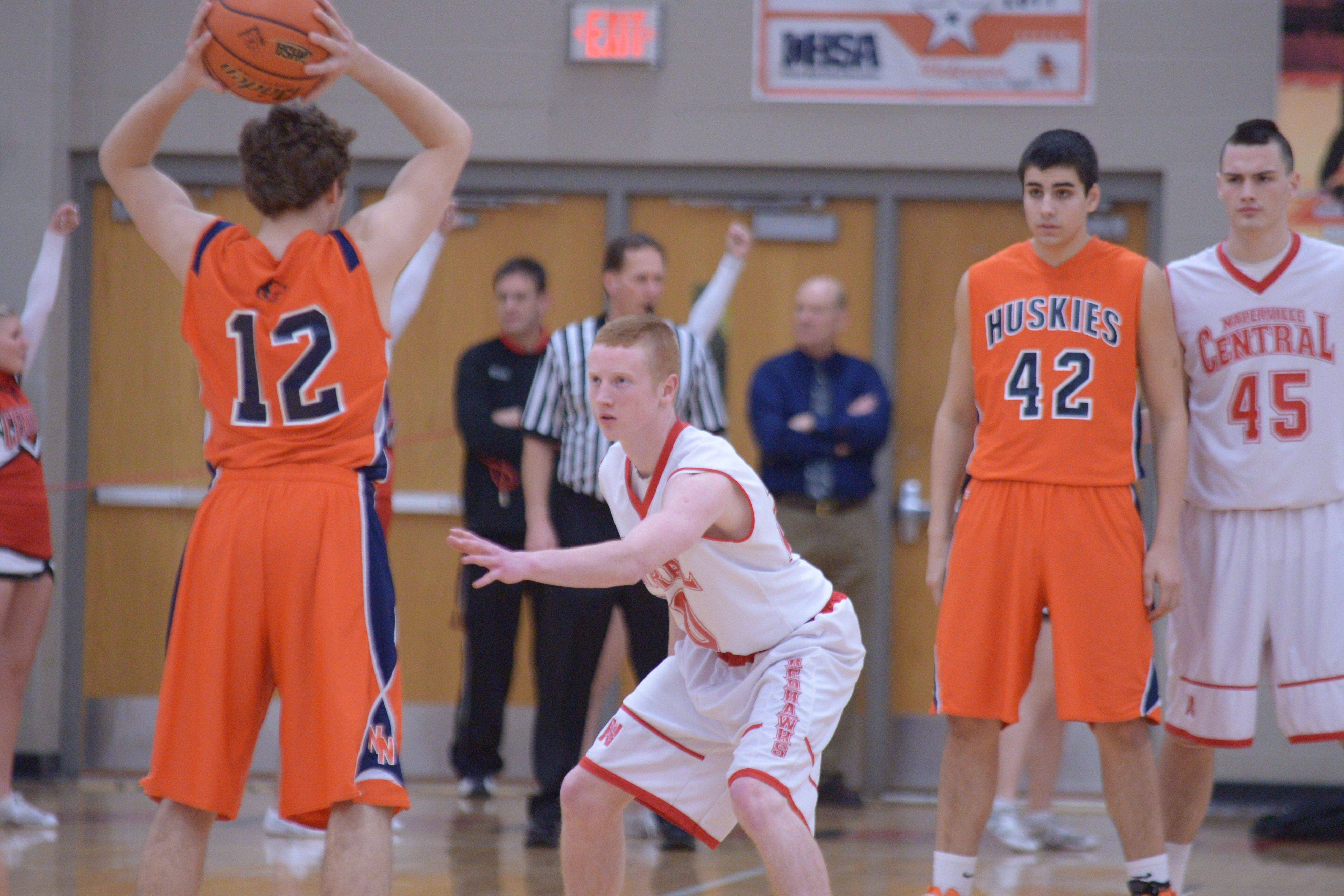 Naperville North played Naperville Central Thursday night for Class 4A boys basketball regional semifinals at Benet Academy in Lisle