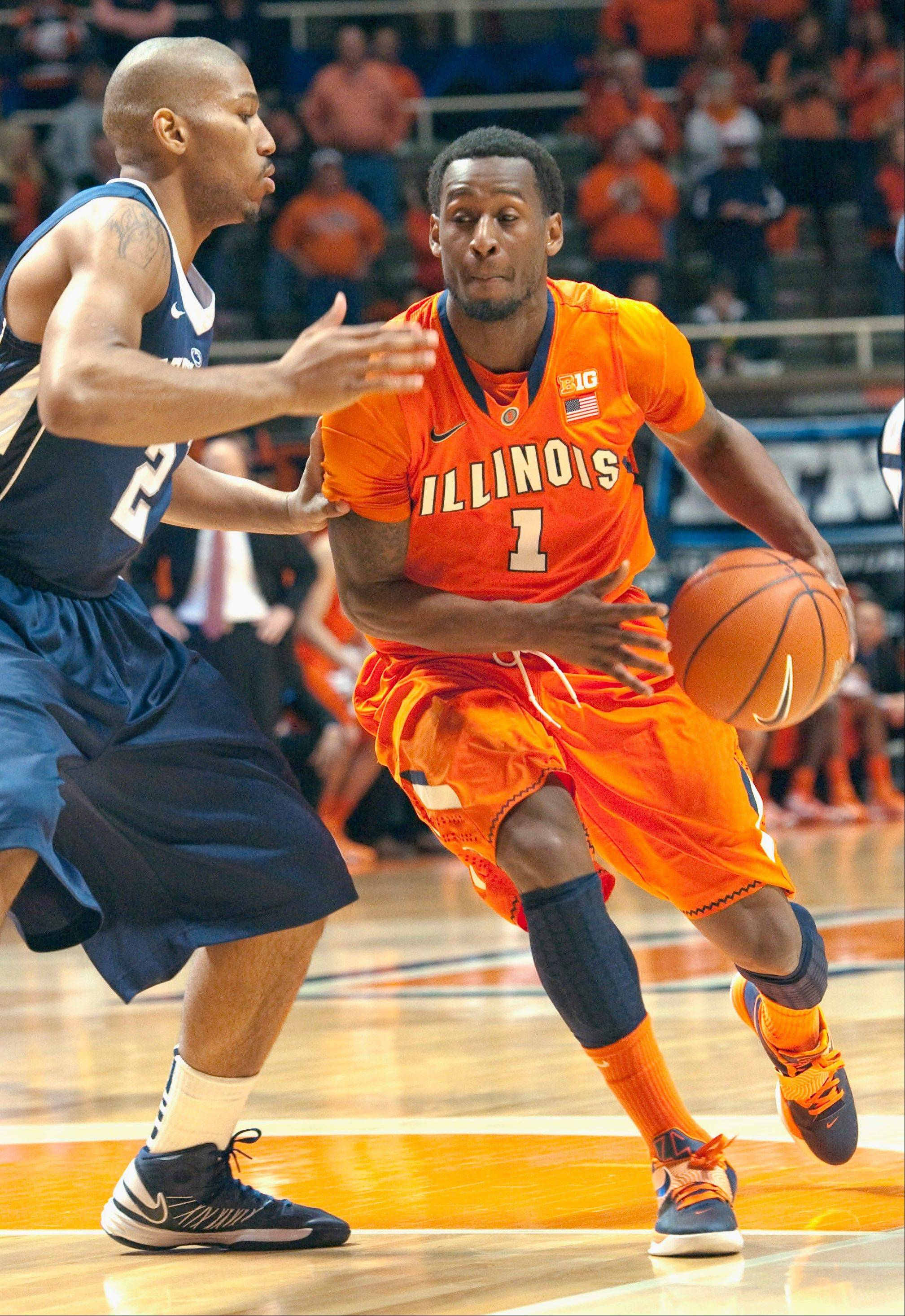 FILE - In this Feb. 21, 2013, file photo, Illinois' D.J. Richardson (1) is guarded by Penn State D.J.Newbill during an NCAA college basketball game in Champaign, Ill. Since day one, Richardson's strengths have been hustle and defense and, while he's never become the big offensive force some thought he might be after his freshman season when he was named the Big Ten's Freshman of the Year, he's still Illinois' stopper. (AP Photo/Robert K. O'Daniell, File)