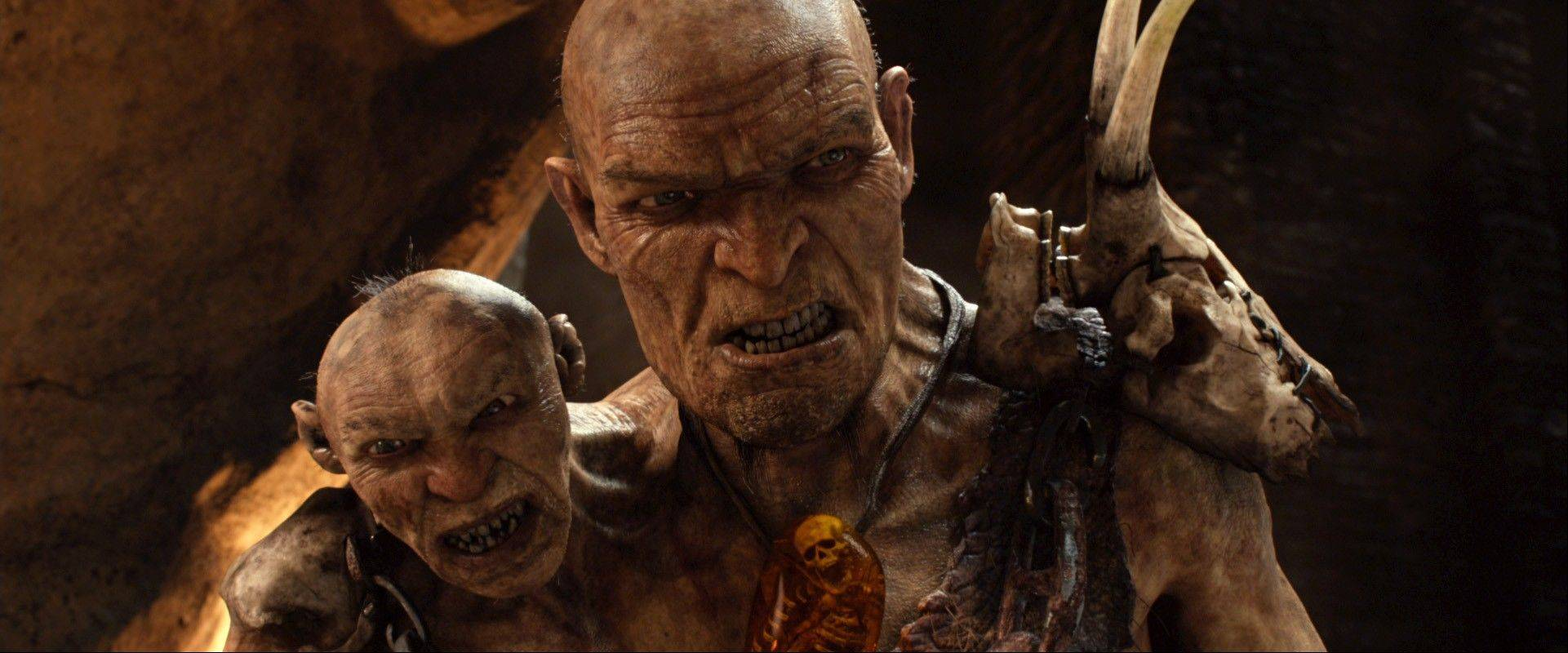 "General Fallon (Bill Nighy) right, and Small Head (John Kassir) provide a double-header threat to humans in Bryan Singer's ""Jack the Giant Slayer."""