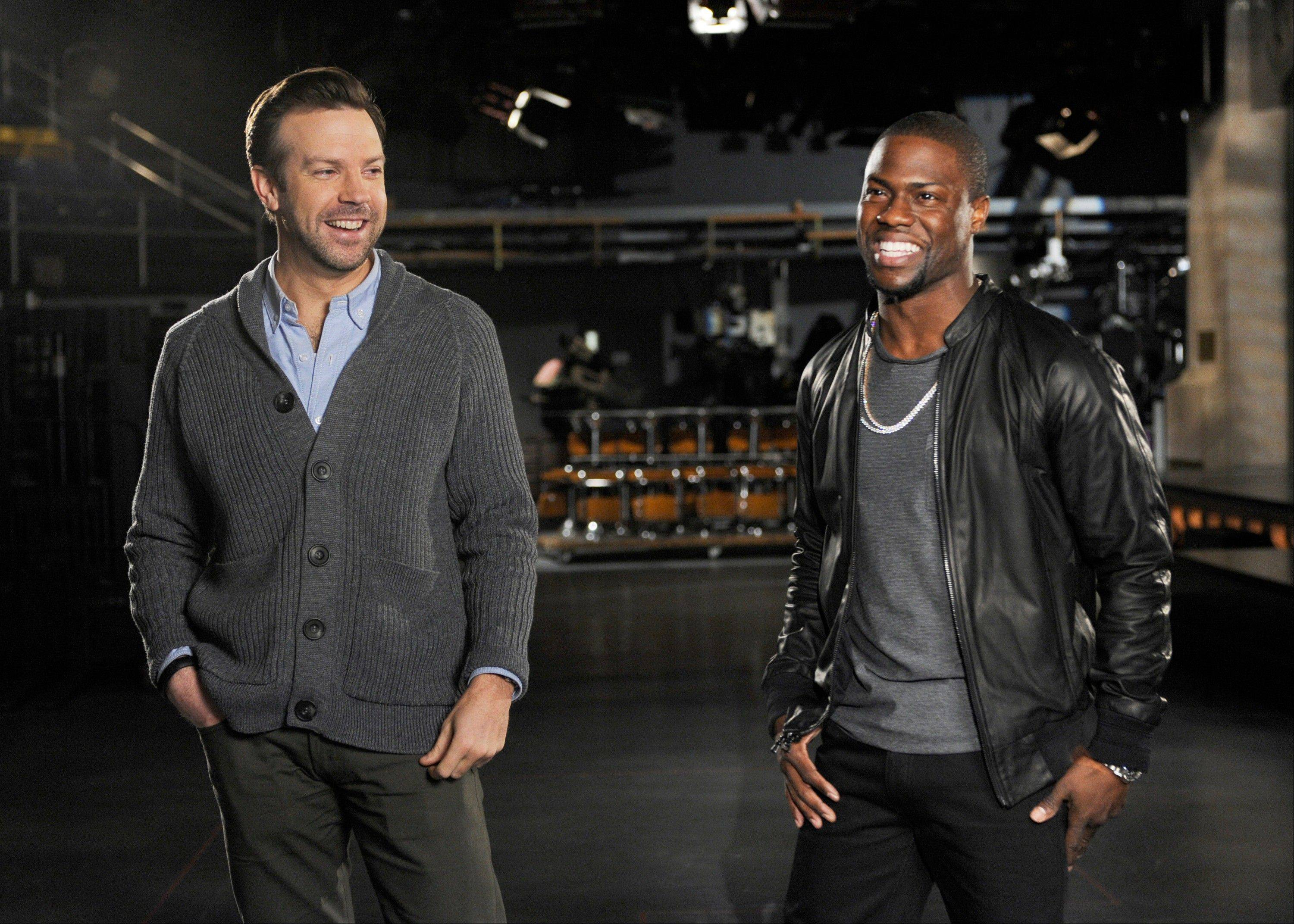 "Cast member Jason Sudeikis, left, and guest host Kevin Hart during rehearsals for ""Saturday Night Live"" in New York. Hart will host the show on Saturday, March 2, with musical guest Macklemore & Ryan Lewis."