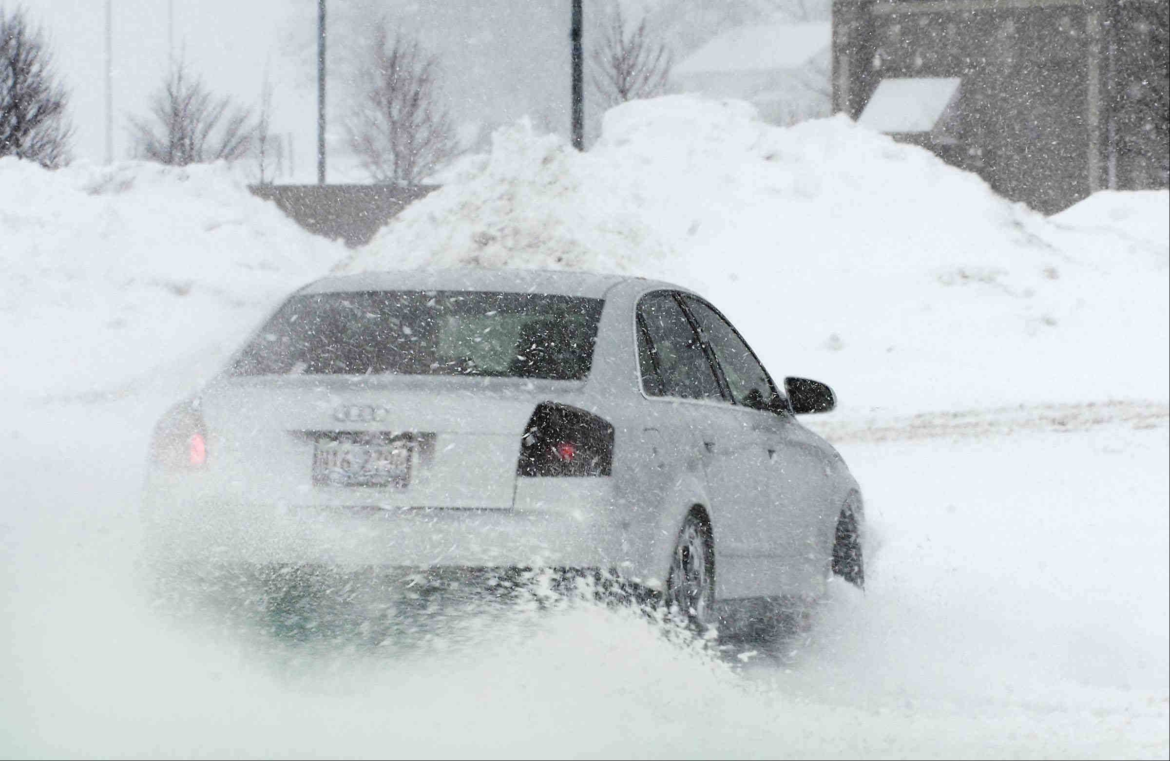 In Algonquin, this car spinning in Tuesday's deep snow was a victim of the latest snowstorm.