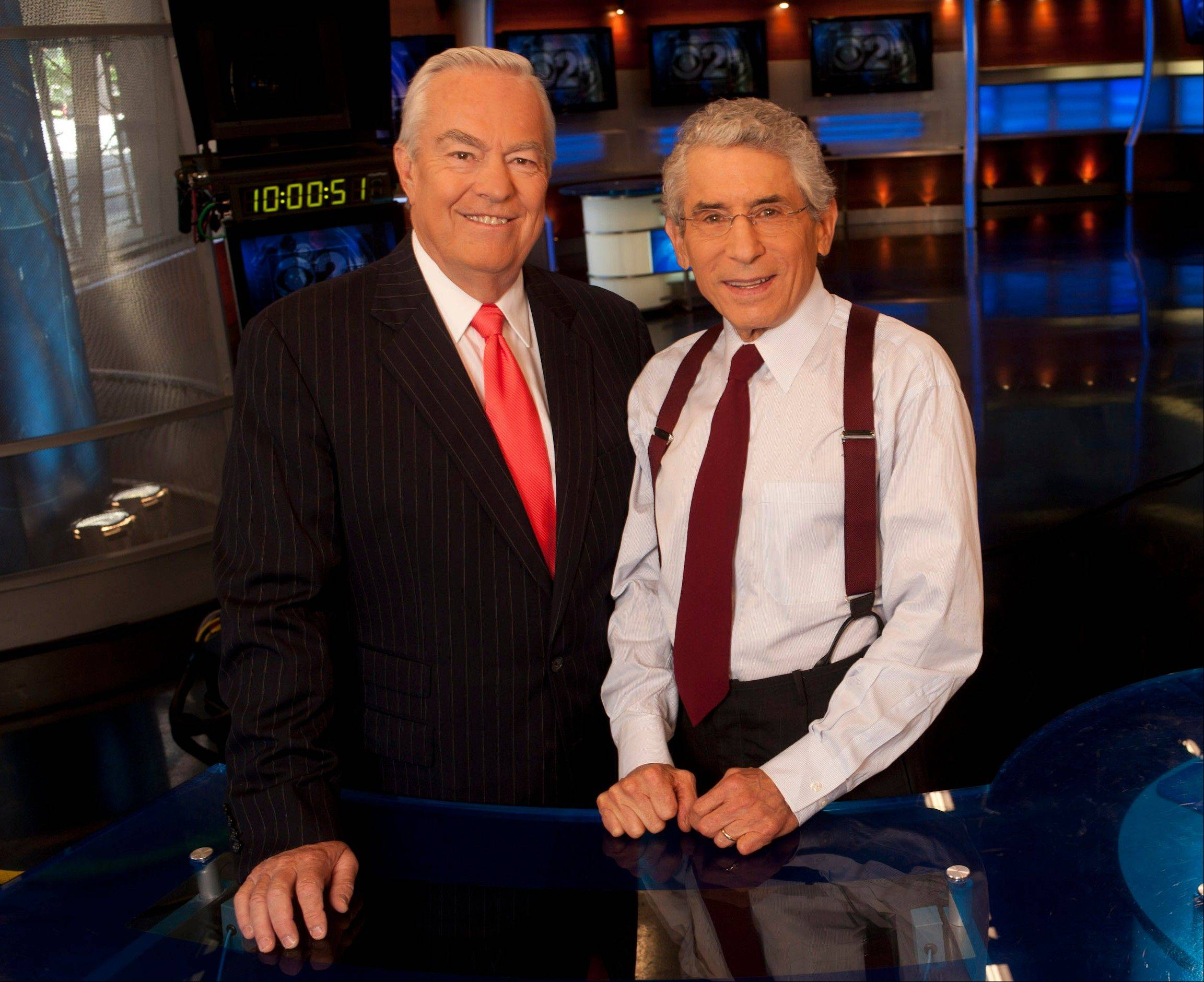 Bill Kurtis, left, and Walter Jacobson signed off as anchors after the 6 p.m. newscast Thursday at WBBM-TV Channel 2. The pair anchored the station's top-rated 10 p.m. newscast from 1973 to 1982, and returned to the 6 p.m. slot in August 2010.