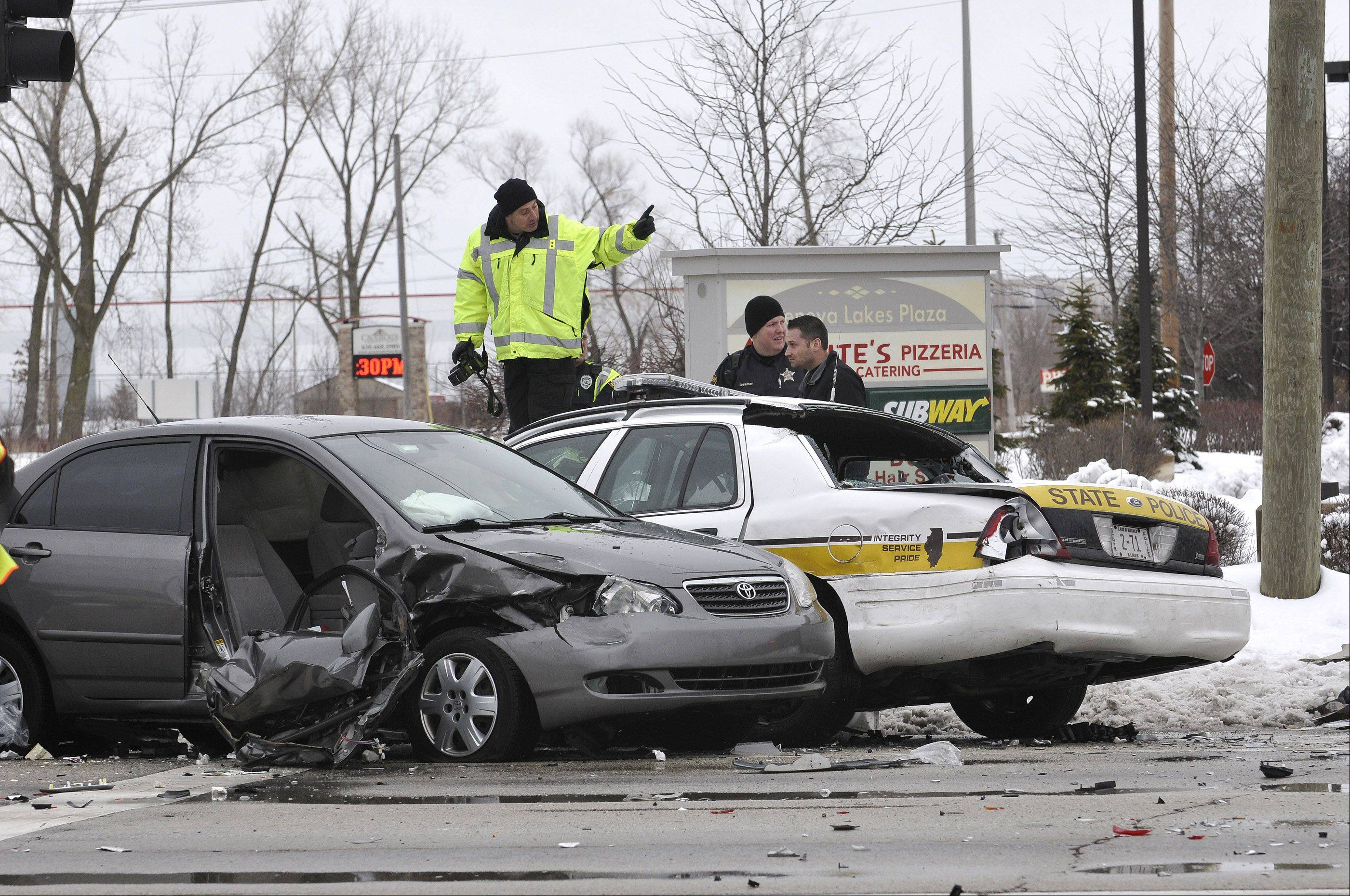 Four people, including a state trooper, were injured Thursday morning in a multivehicle crash in Wheaton.