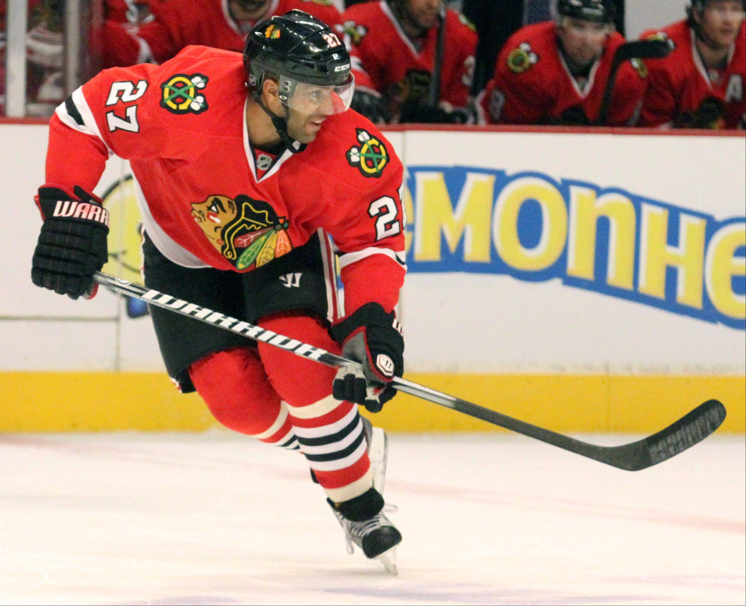 Blackhawks defenseman Johnny Oduya in 2-1 win over San Jose Sharks at the United Center on Friday, February 22, 2013.28