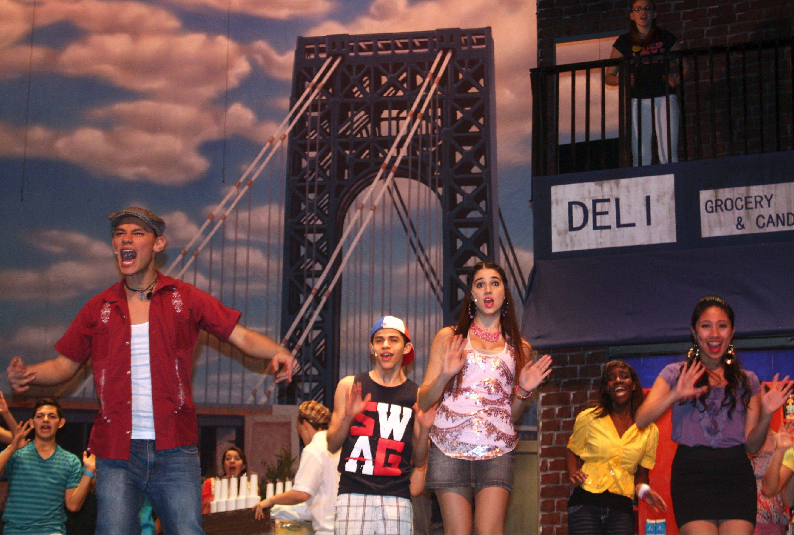 "Maine East will become the first high school in Illinois to perform the Tony Award-winning ""In the Heights."" Four of the musical's main actors onstage are, from left, Mynor Pelaez Luken, Adrian Delgado, Marianna Veneri and Brittney Mangurali."