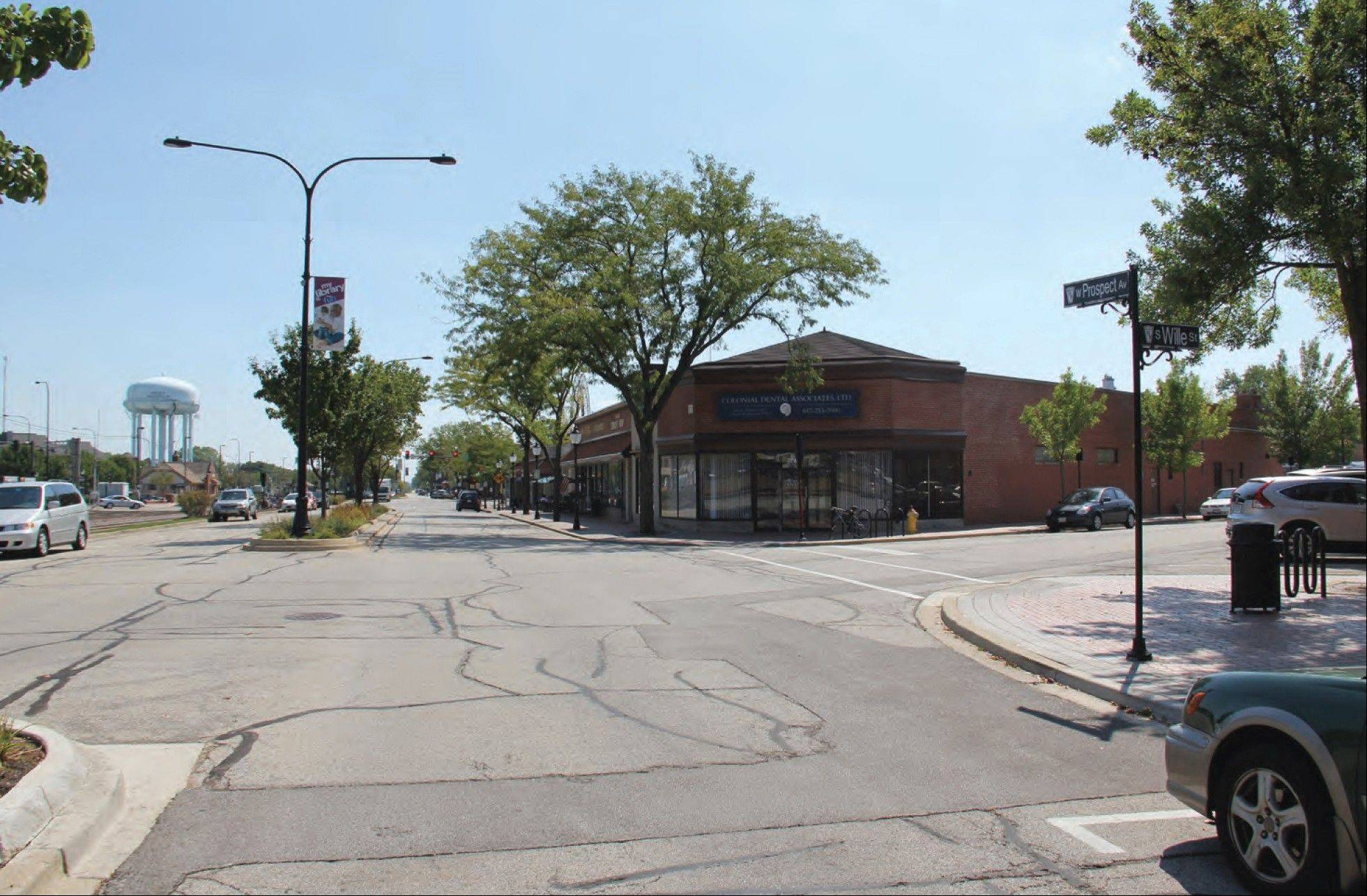 "These ""before"" (above) and ""after"" (below) images of the corner of Prospect Avenue and Wille Street illustrate the streetscape improvements being considered as part of an ongoing study of downtown Mount Prospect."
