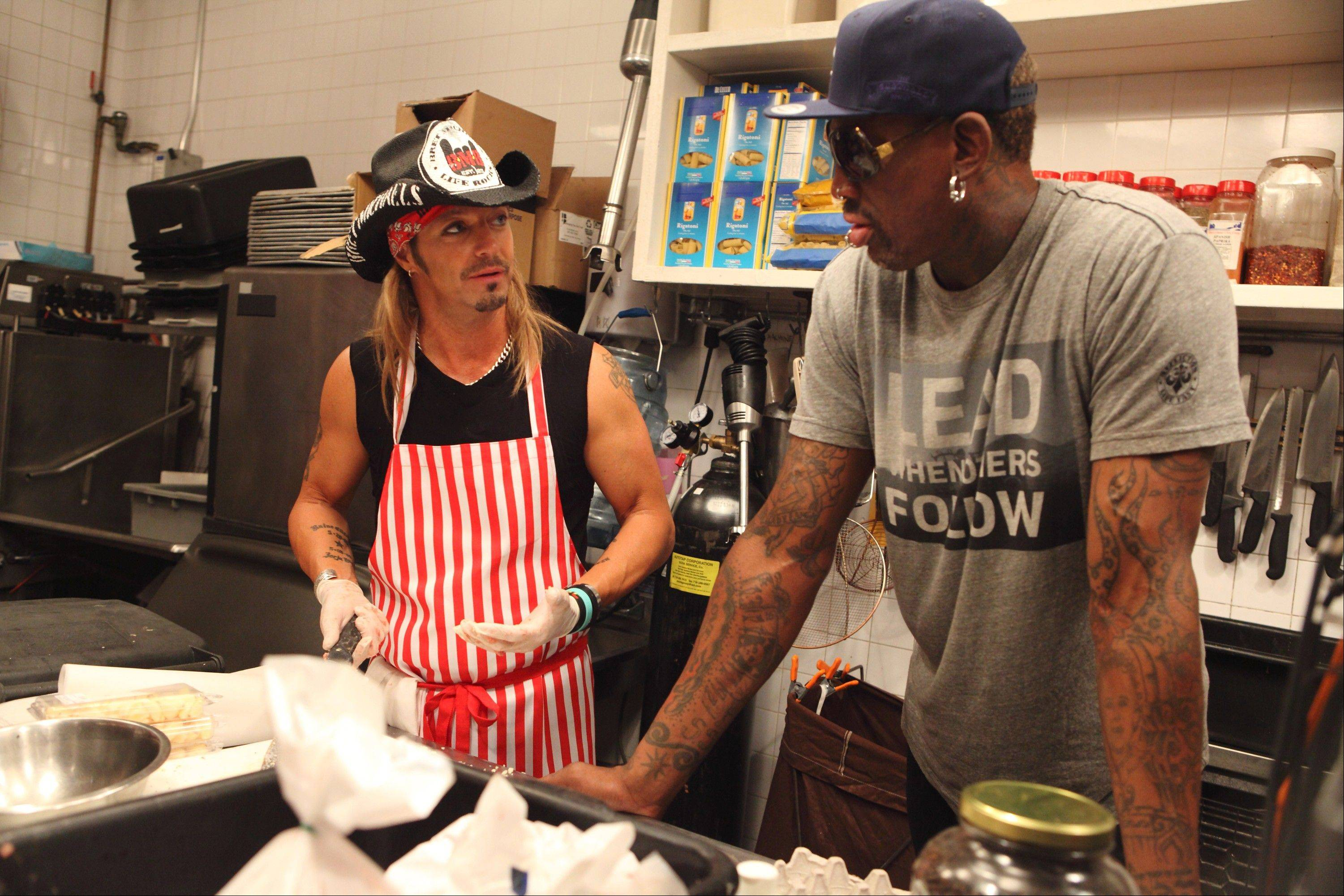 "Rocker Bret Michaels, left, and former Chicago Bulls player Dennis Rodman join other stars in NBC's ""All-Star Celebrity Apprentice,"" which debuts Sunday, March 3,"