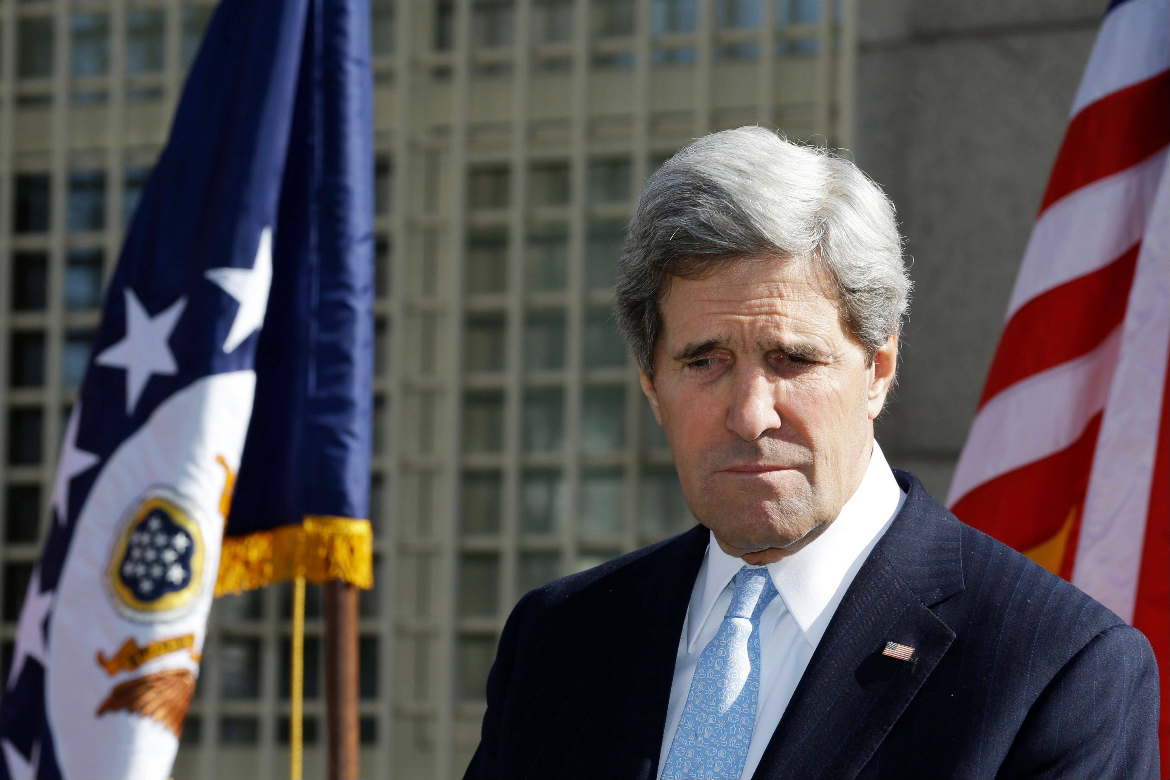 U.S. Secretary of State John Kerry pauses while speaking about the death of Mustafa Akarsu, a U.S. Embassy guard who was killed on Kerry�s first day as secretary by a suicide bomber attack at the U.S. Embassy in Ankara, Turkey, during a memorial at the embassy on Friday, March 1, 2013. Ankara is the fifth leg of Kerry�s first official overseas trip, a nine-day dash through Europe and the Middle East.
