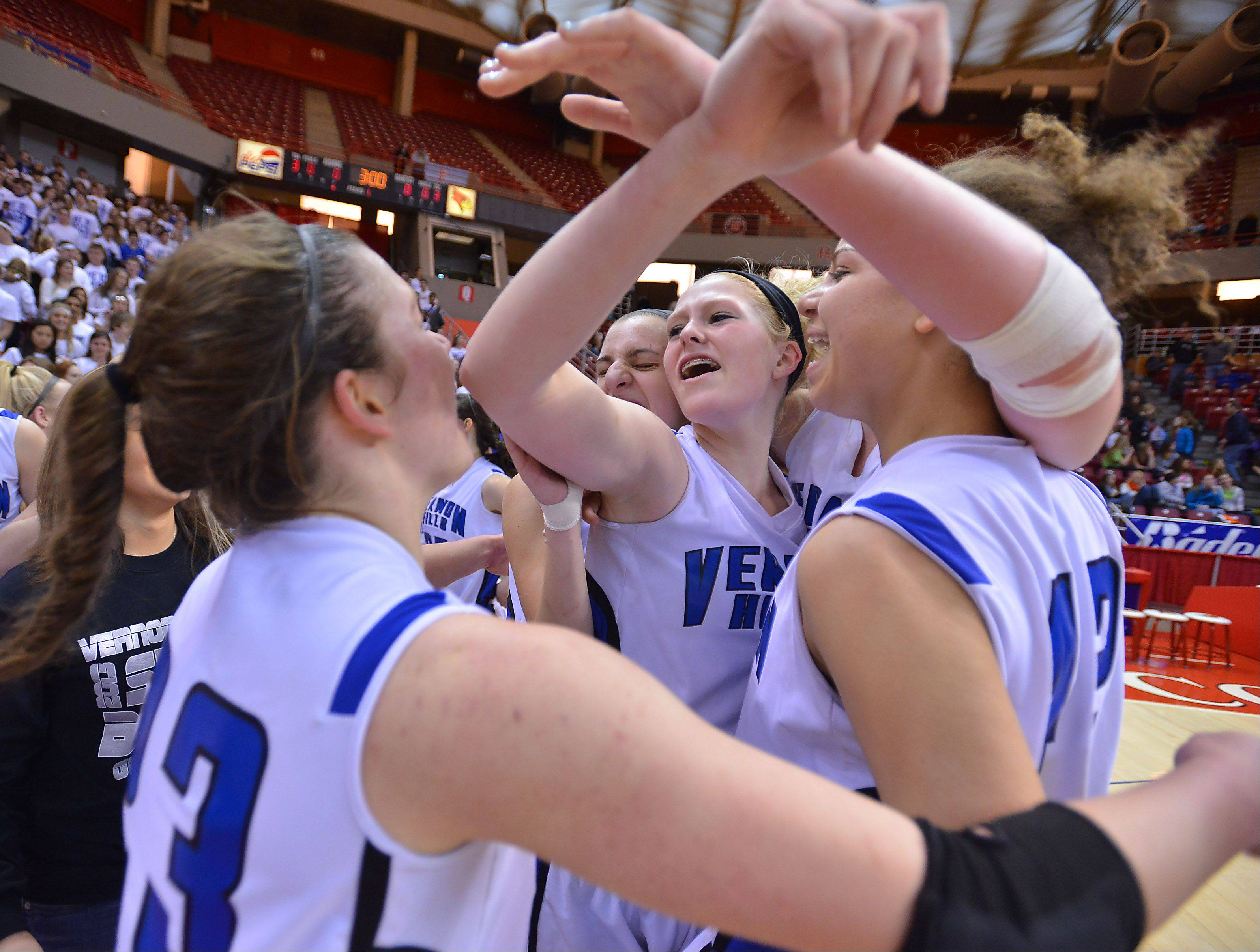 Vernon Hills' Sydney Smith celebrates with teammates.
