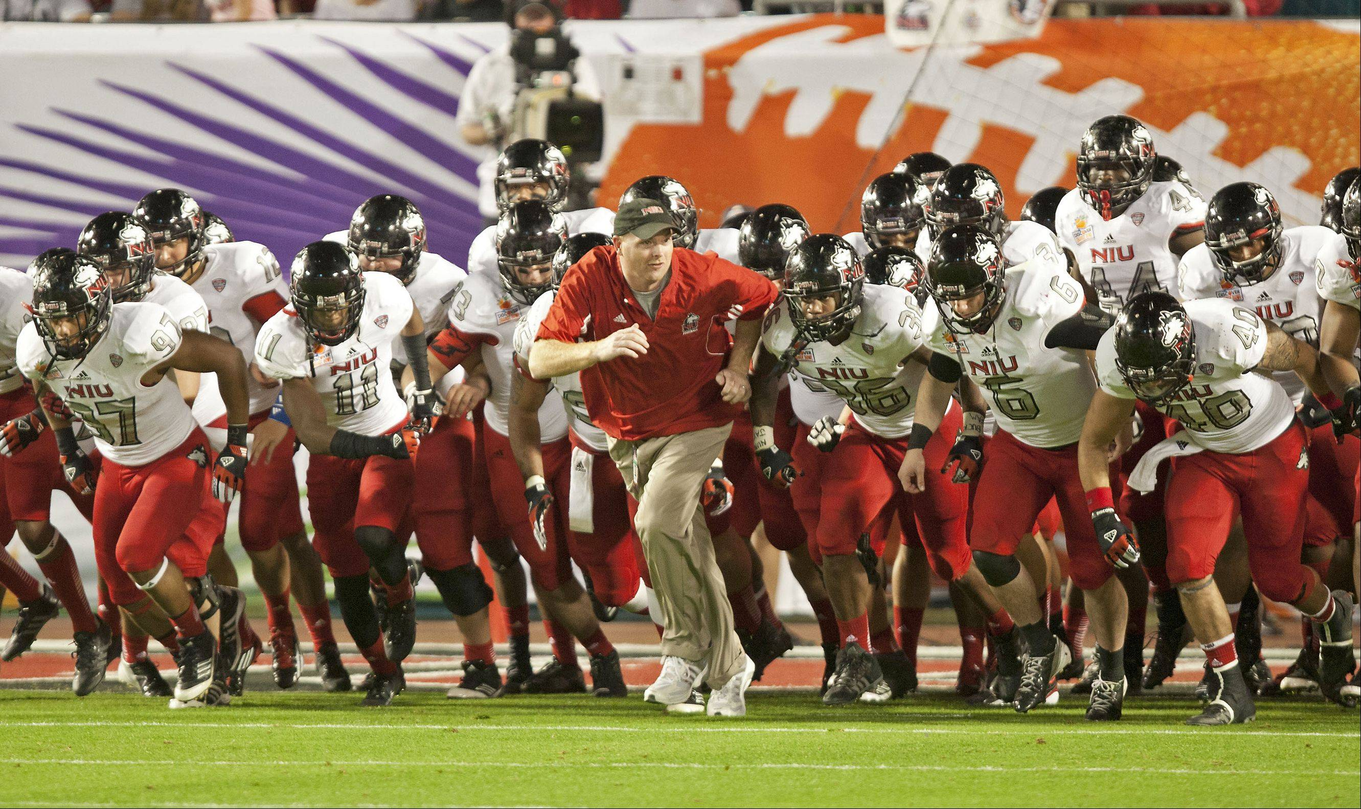 NIU head coach Rod Carey and the Huskies will open the season at Iowa and play four of their first five games on the road next fall.