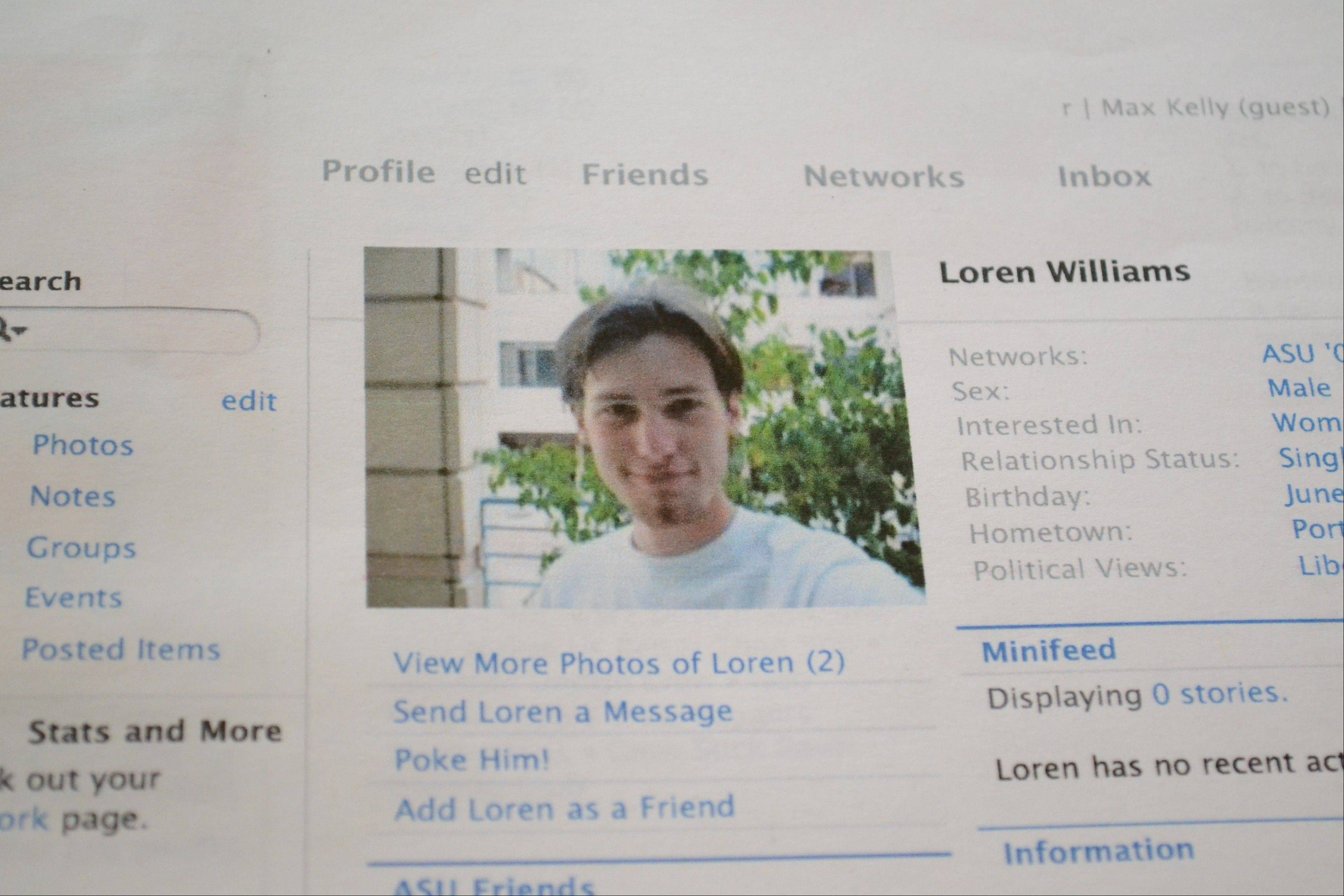 A printout of the Facebook page for Loren Williams, now deceased, at his mother's home in Beaverton, Ore.
