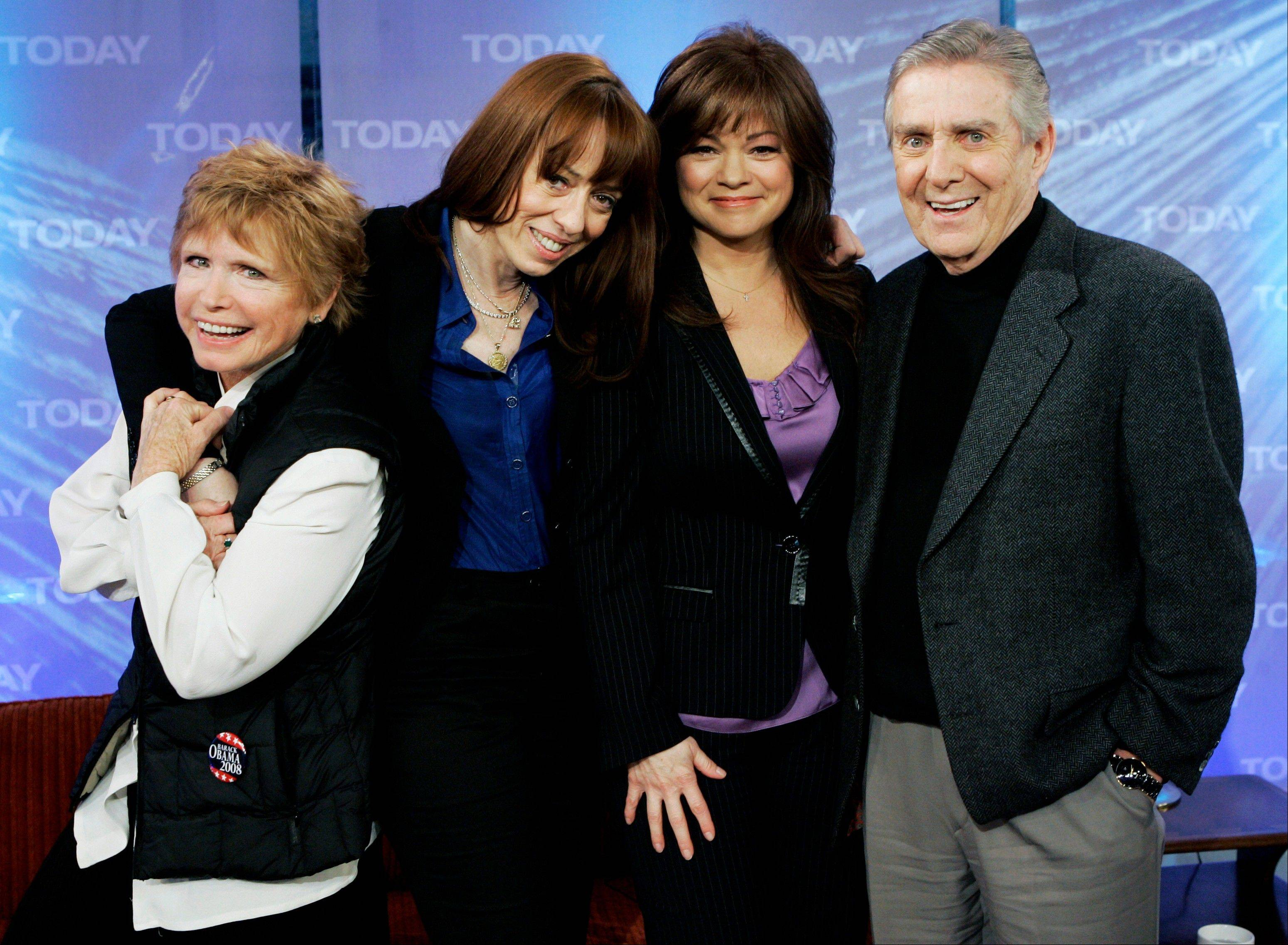 "Bonnie Franklin, left, MacKenzie Phillips, Valerie Bertinelli and Pat Harrington of the 1970s television sitcom ""One Day at a Time"" here reminisced in 2008 on the NBC ""Today"" show. Franklin died Friday, March 1, at her home due to complications from pancreatic cancer, family members said. She was 69."