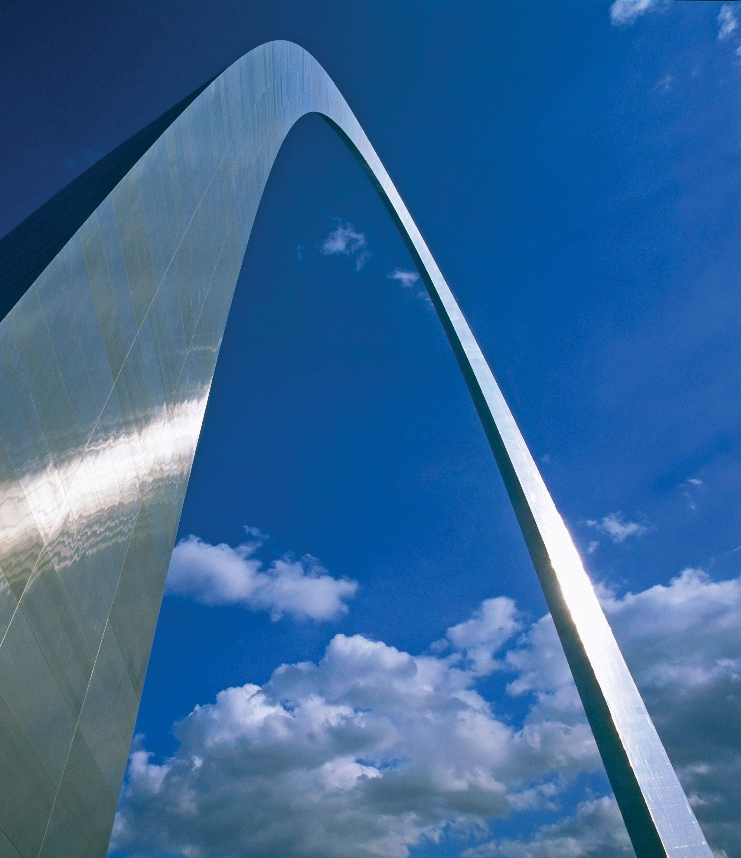 The Gateway Arch, the nation's tallest man-made monument, signifies the gateway to the West.