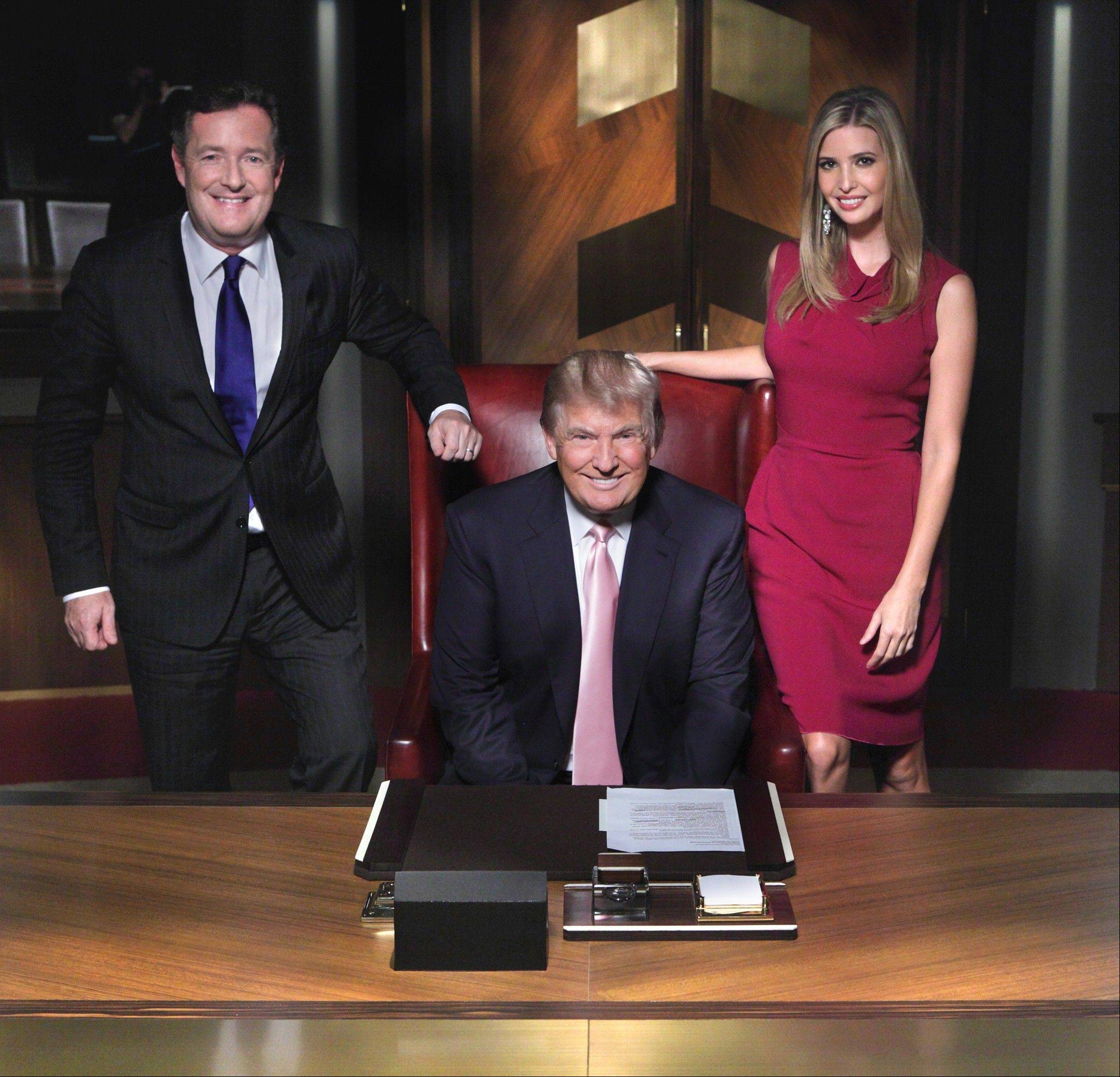 "Adviser Piers Morgan, left, helps Donald Trump and daughter Ivanka in NBC's ""All-Star Celebrity Apprentice,"" which debuts Sunday, March 3."