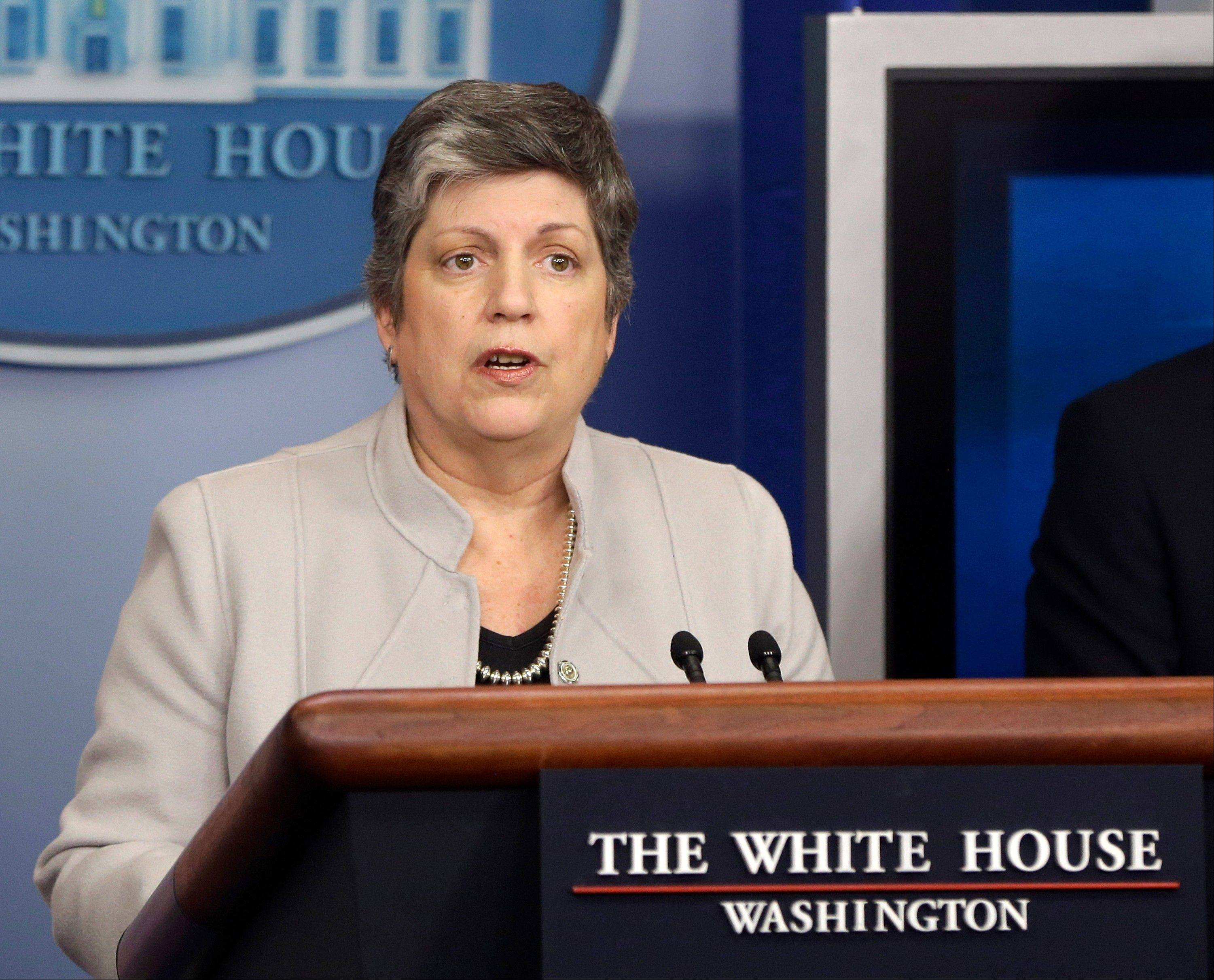 Homeland Security Secretary Janet Napolitano briefs reporters Monday at the White House in Washington.