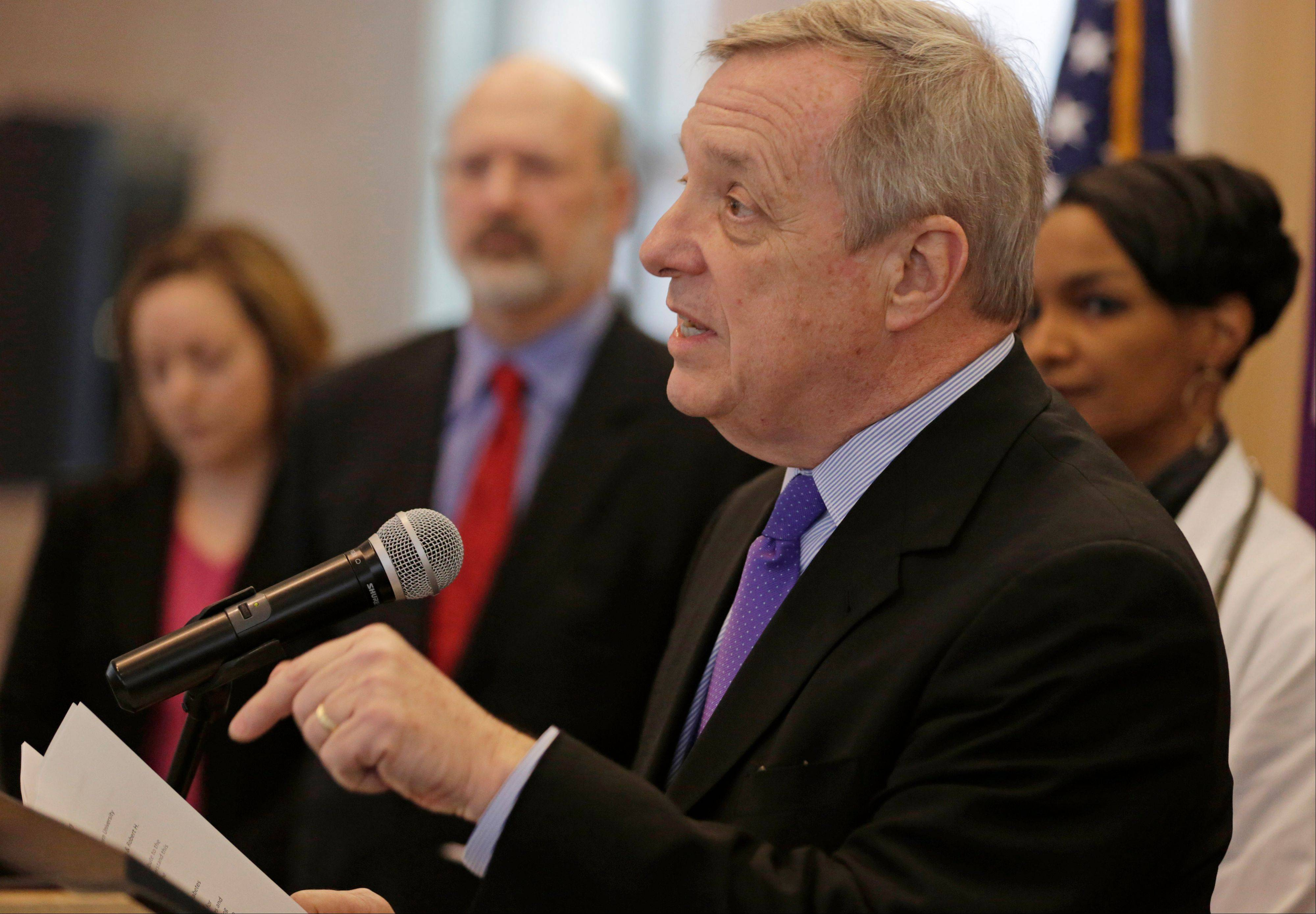 U.S. Sen. Dick Durbin, a Springfield Democrat, speaks about the impact of the government sequestration budget cuts on the state's leading research universities and hospitals during a news conference Friday in Chicago.