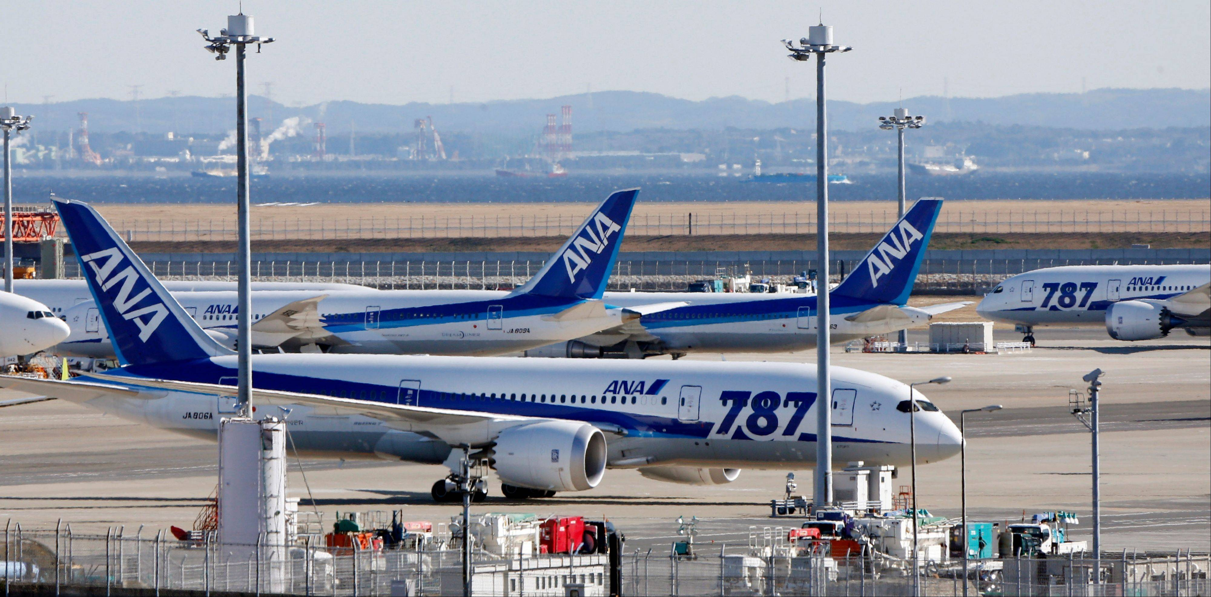 "All Nippon Airways' Boeing 787 ""the Dreamliner"" passenger jets park on the tarmac at Haneda airport in Tokyo. Though Dreamliners remain grounded, Boeing is selling smaller jetliners."