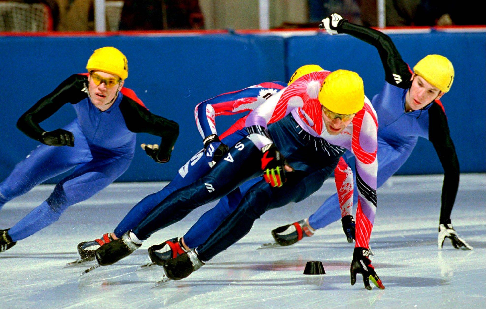 FILE - In this Jan. 18, 1998, file photo, Andy Gabel, foreground, skates to first place during the men's 1,000-meter short track speedskating Olympic trials in Lake Placid, N.Y. U.S. Speedskating began an investigation Friday, March 1, 2013, into the report of a female skater accusing former Olympian and organization president Andy Gabel of sexual abuse in the 1990s.