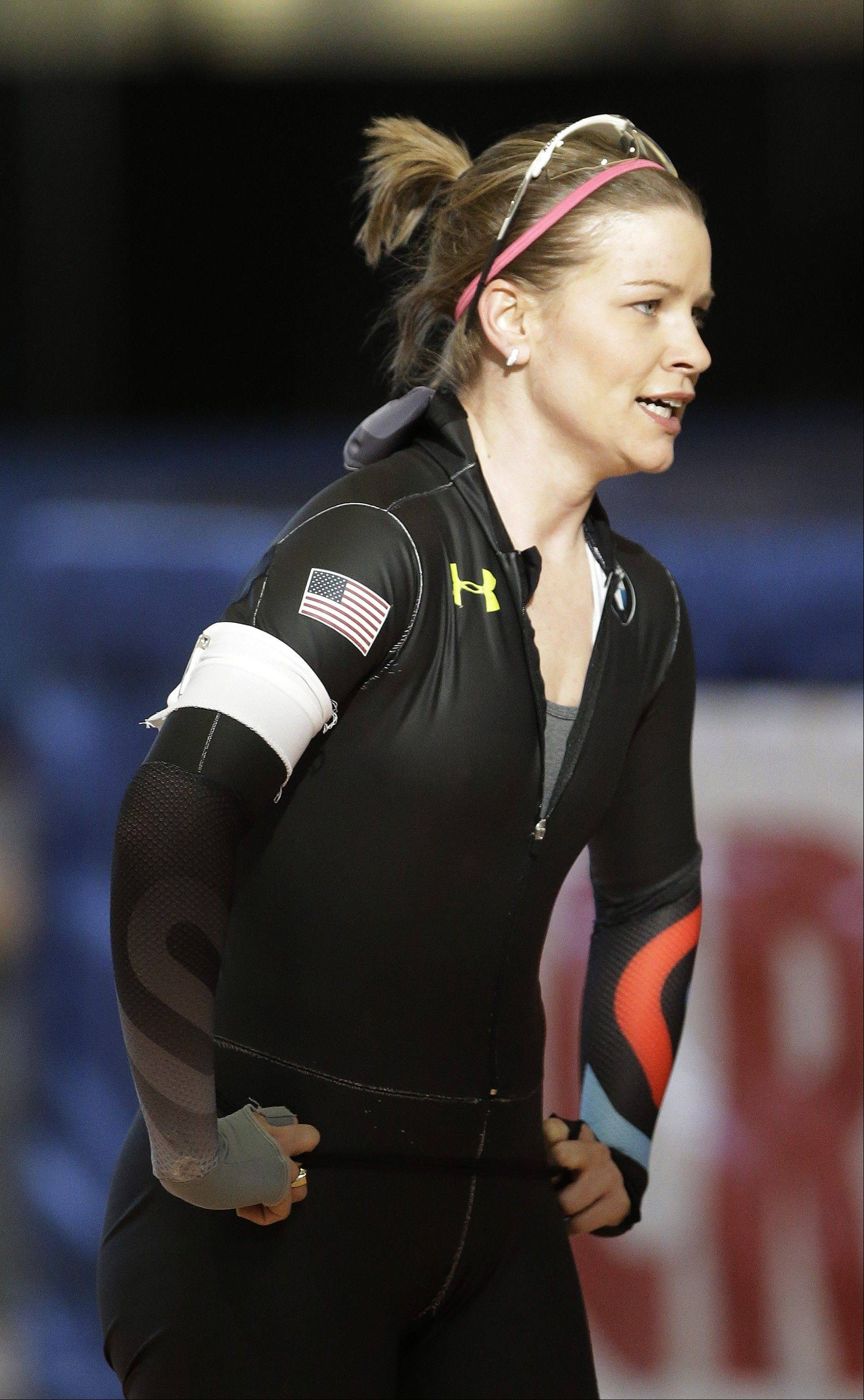Speedskater Bridie Farrell looks on after competing in the 1000-meter race at the Long Track American Cup Final North American Championship Friday, March 1, 2013, in Kearns, Utah. U.S. Speedskating began an investigation Friday into the report of a female skater accusing former Olympian and organization president Andy Gabel of sexual abuse in the 1990s. Farrell told public radio station WUWM in Milwaukee that she had sexual contact with Gabel repeatedly over several months in 1997 and 1998 while both were training in New York and Michigan. When the alleged abuse began, she was 15 and Gabel was 33.