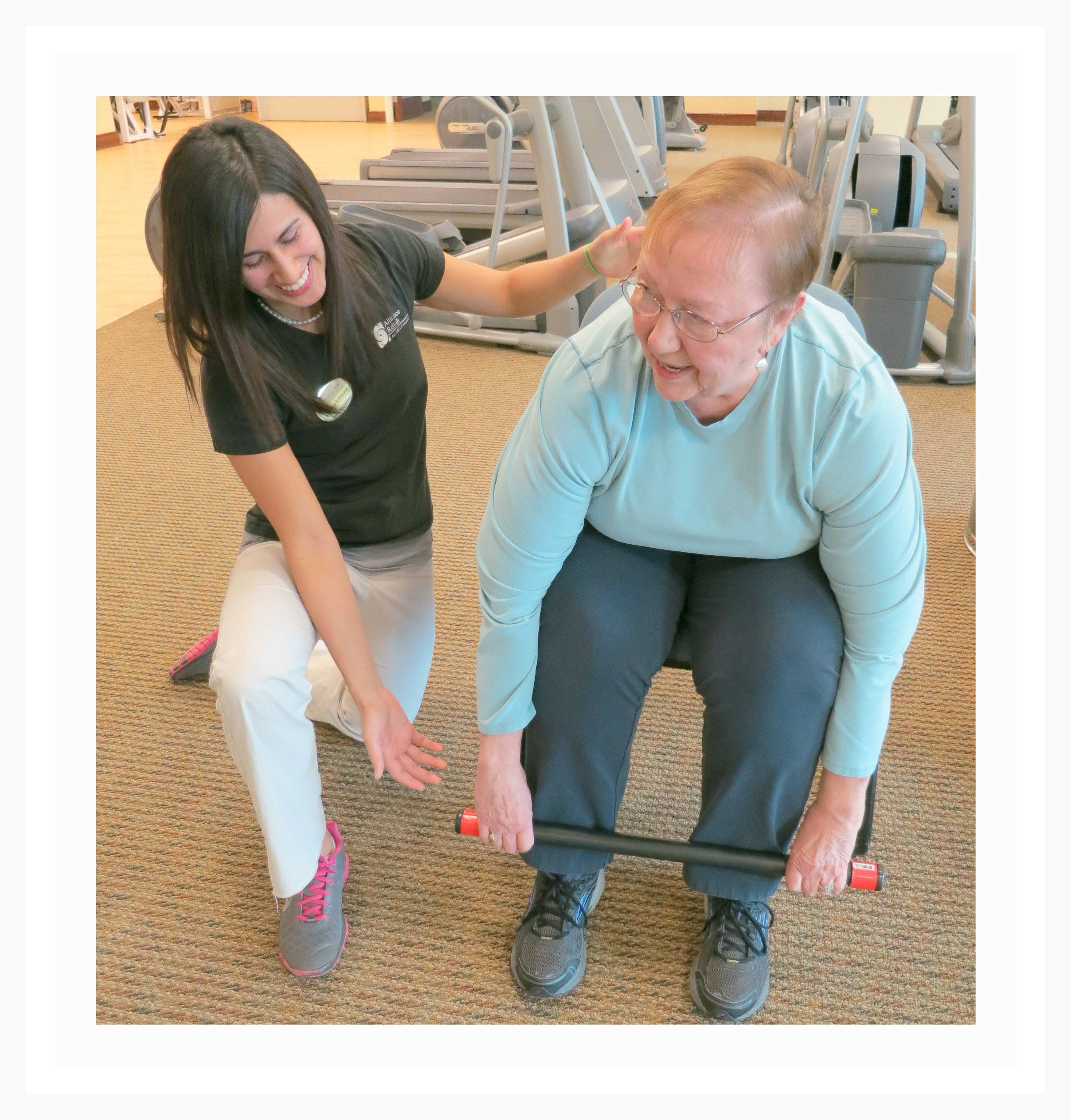 Exercise Physiologist Jessica Enriquez designed a class to help residents stay fit so that they can enjoy an active and vibrant lifestyle.