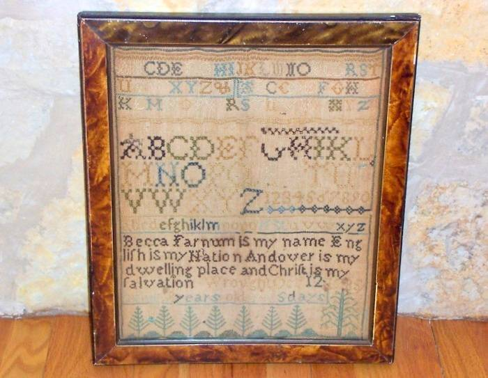 Liberty Tree Antiques of Glen Ellyn will be selling this sampler, stitched by Becca Farnum of Andover, Mass., dated Oct. 12, 1785.
