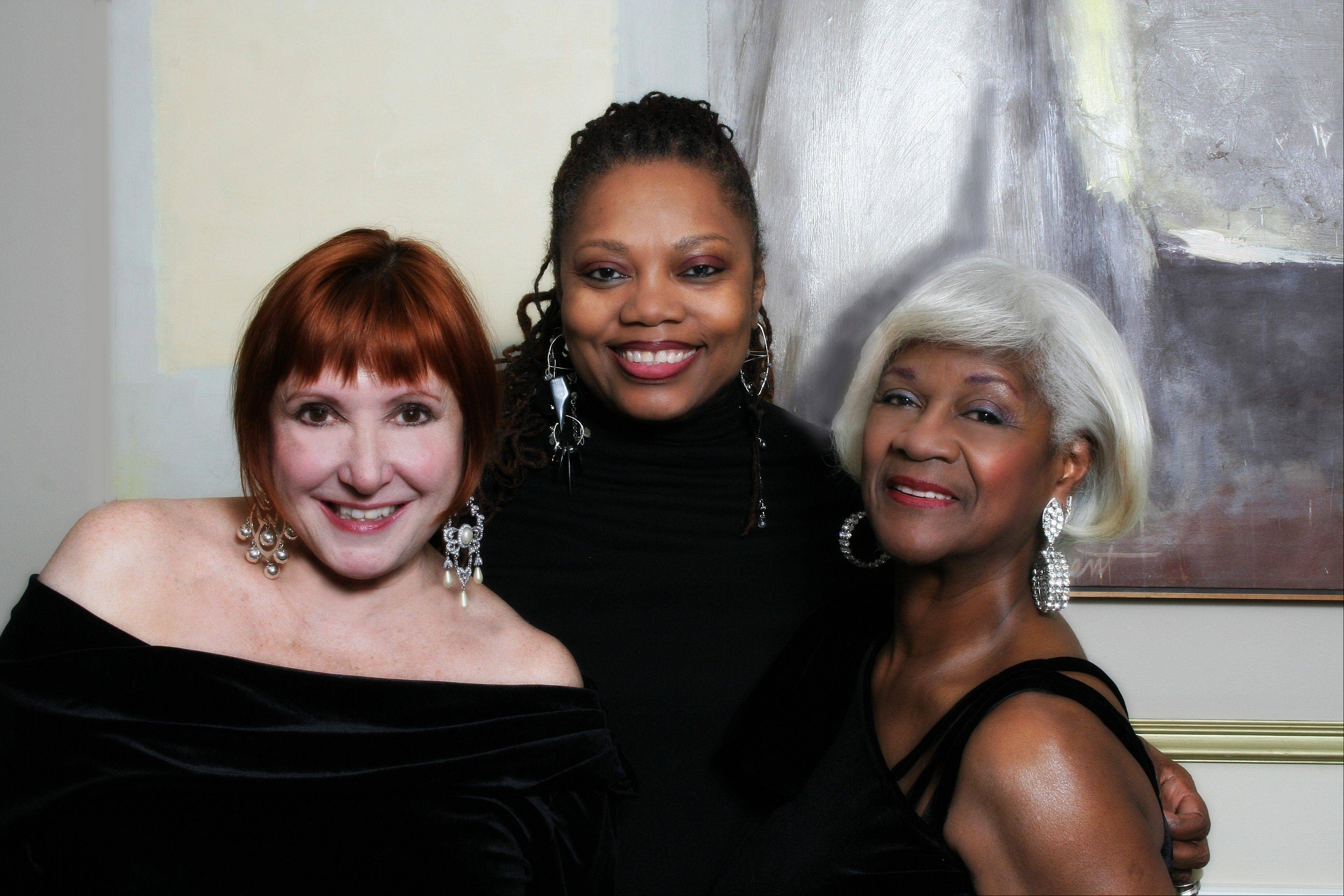 "Spider Saloff, left, Dee Alexander and Frieda Lee pay tribute to the late Ella Fitzgerald in the jazz concert ""Three Ellas"" Saturday at Schaumburg's Prairie Center for the Arts."
