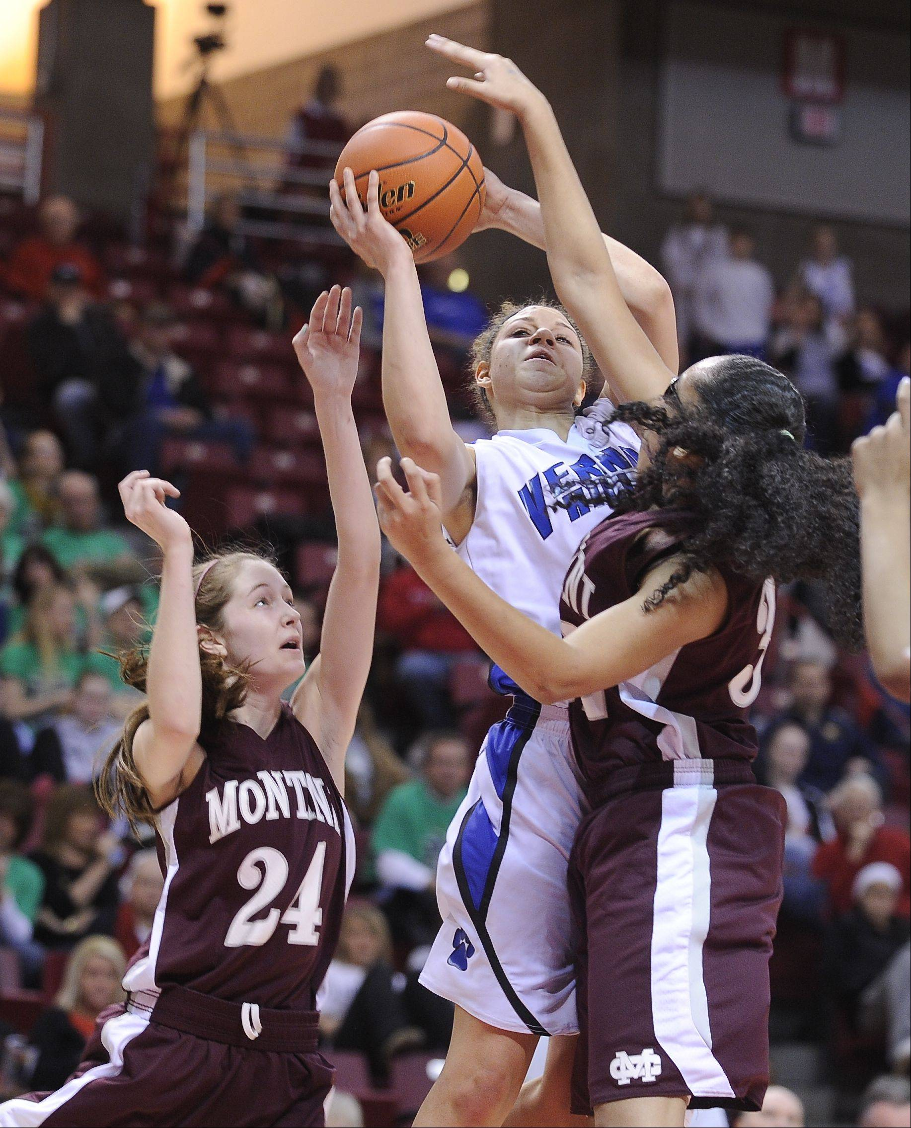 Montini's Kateri Stone (24) was limited this weekend by a high ankle sprain.