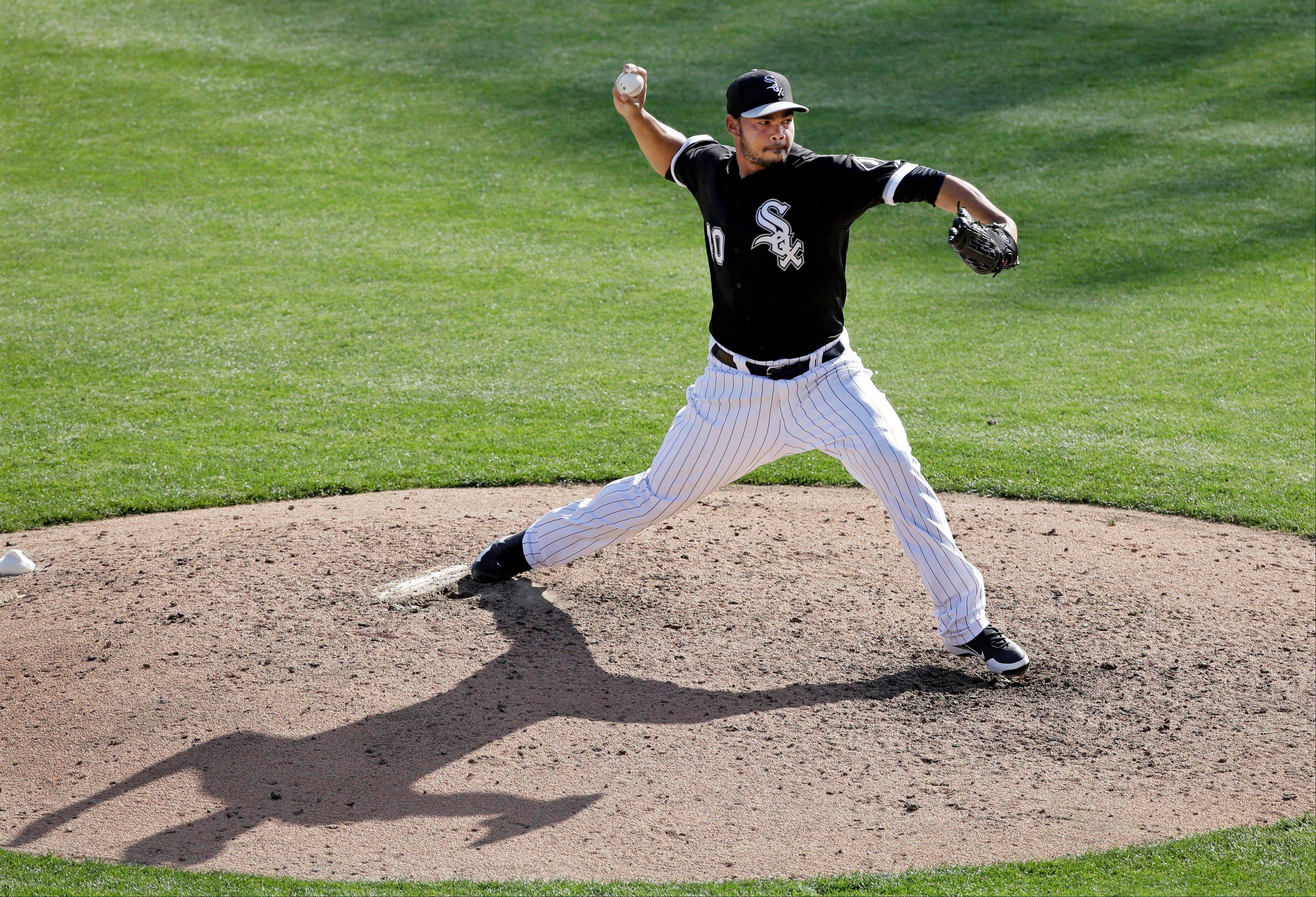 Chicago White Sox's Ramon Troncoso pitches against the Cincinnati Reds in the ninth inning of a spring training baseball game Saturday, March 2, 2013, in Glendale, Ariz. The White Sox defeated the Reds 4-0. (AP Photo/Mark Duncan)