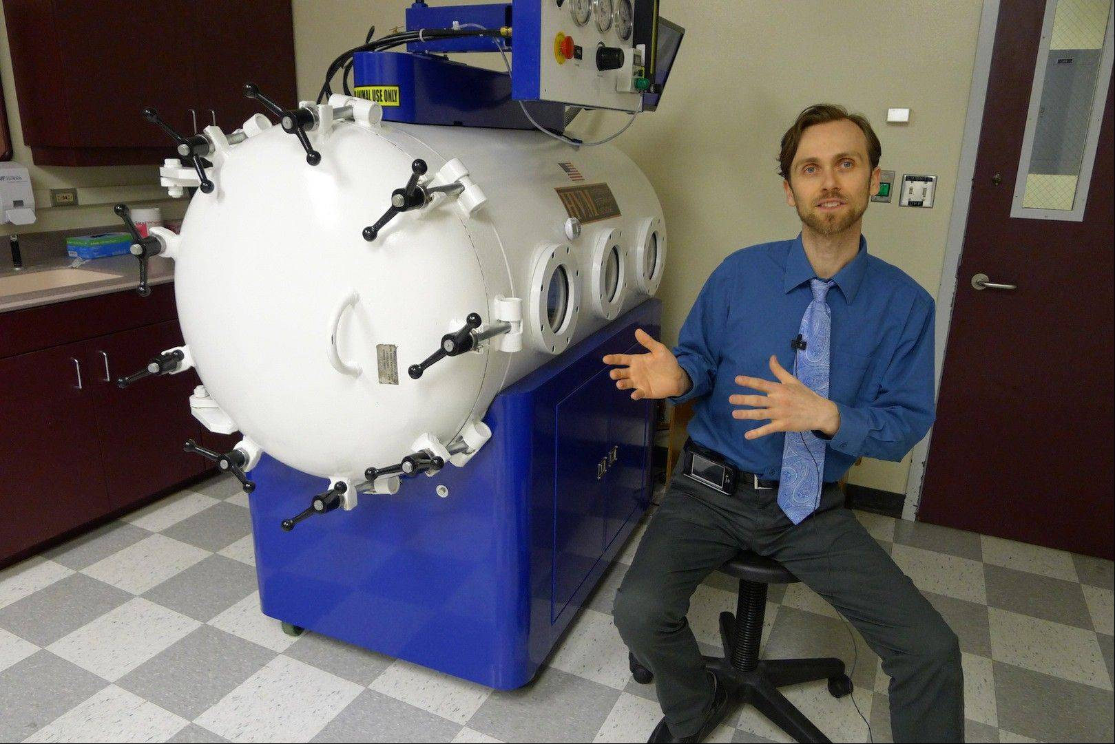 Dr. Justin Shmalberg, a veterinarian and professor at the University's of Florida's College of Veterinary Medicine, says that hyperbaric oxygen chambers are being used to treat inflammation, wounds and other conditions in pets.