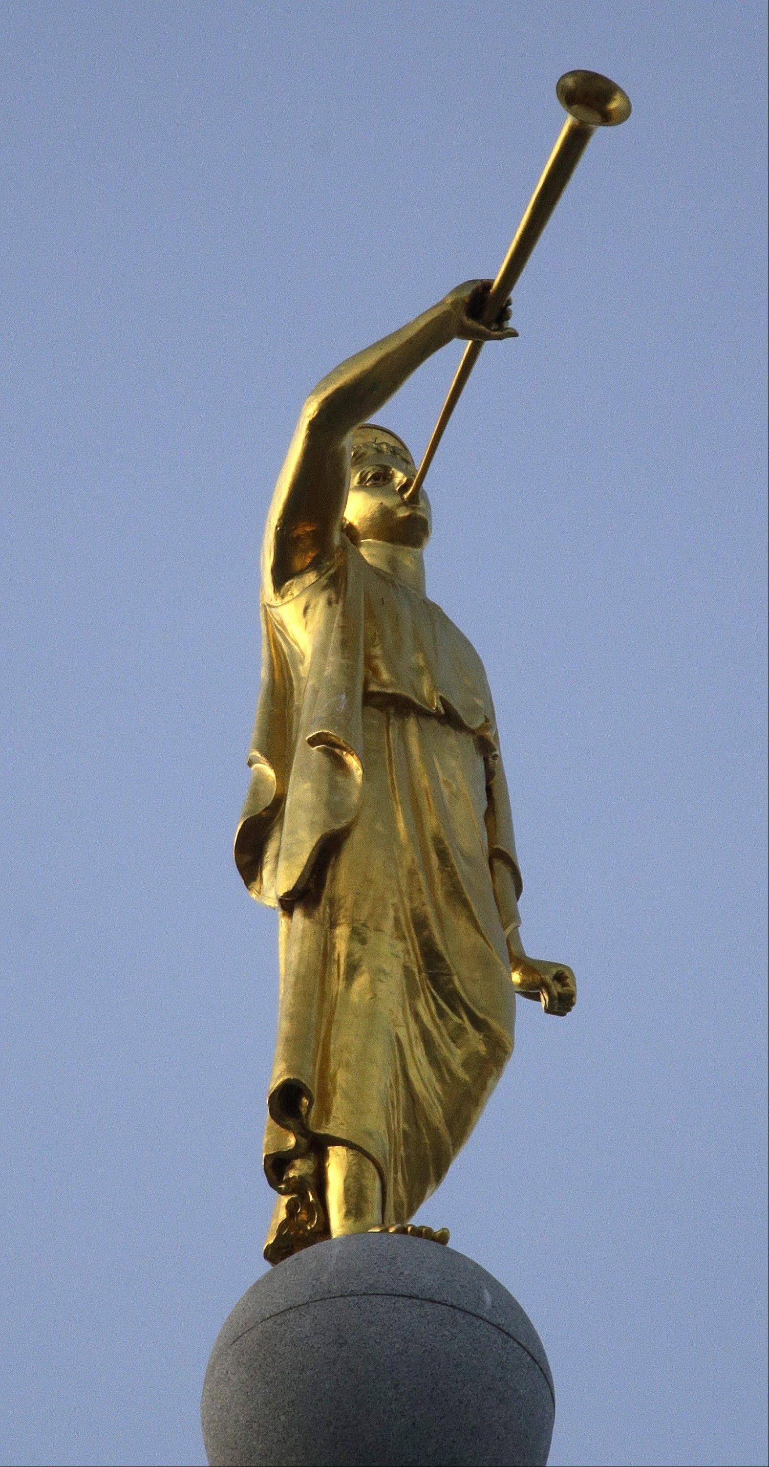 Angel Moroni sits atop the Salt Lake Temple in Salt Lake City.