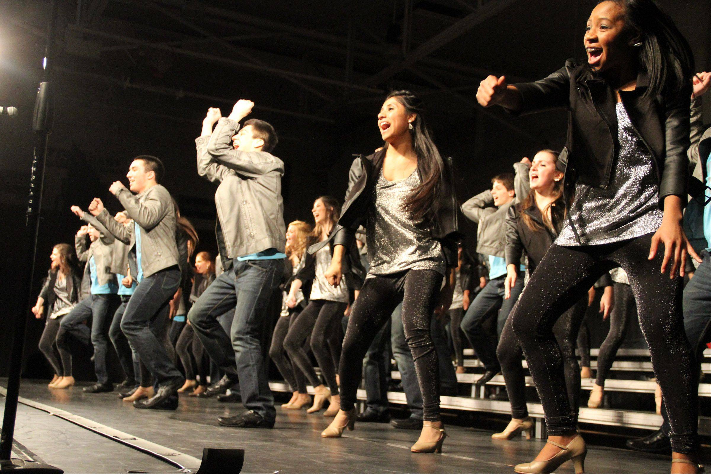 New Dawns of Wheeling High School perform at the 20th annual Chicagoland Showcase hosted by Hersey High School in Arlington Heights on Saturday.