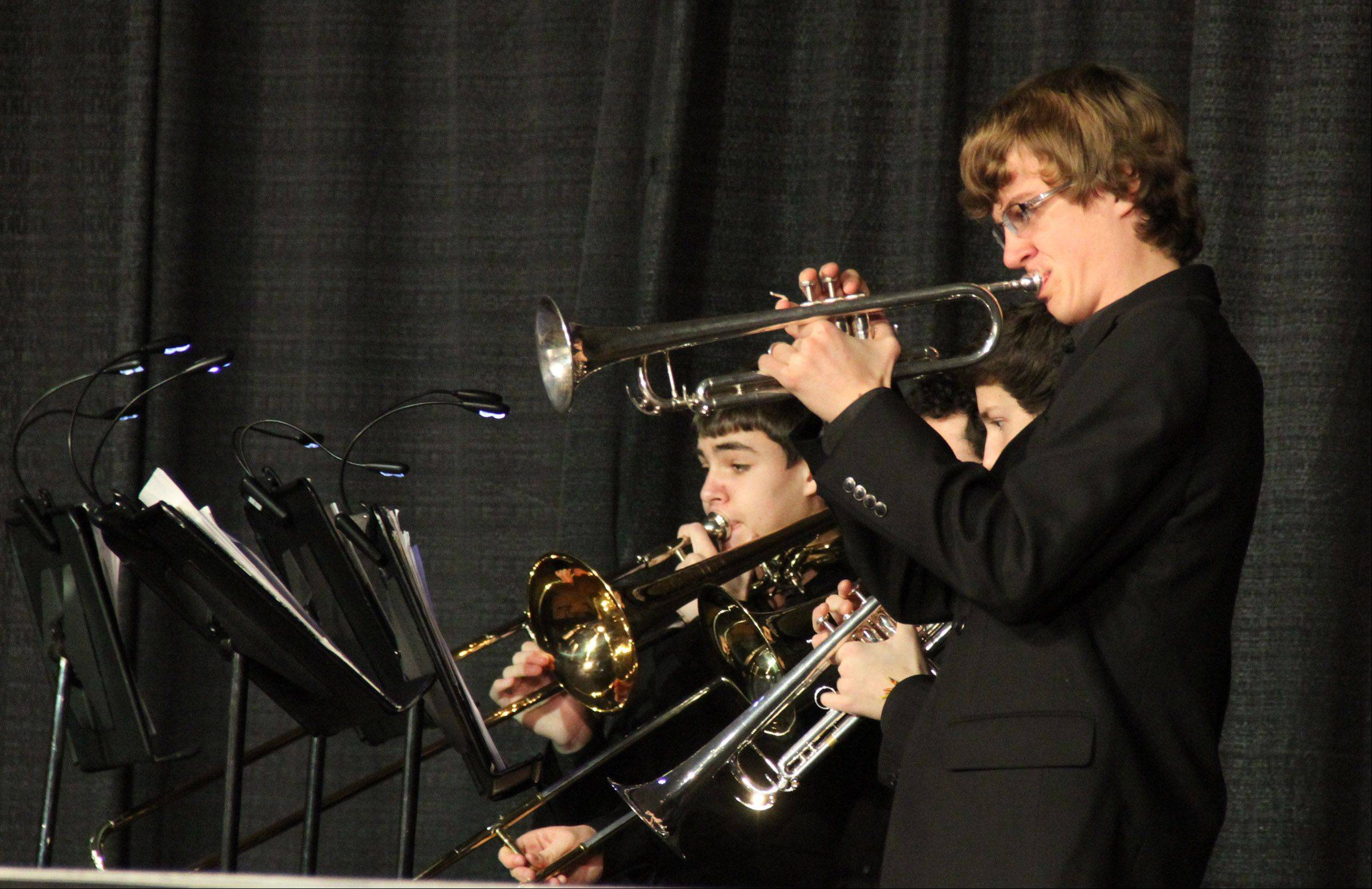 The band playing music for Swingsingers of Batavia High School performs at the 20th annual Chicagoland Showcase hosted by Hersey High School in Arlington Heights on Saturday.