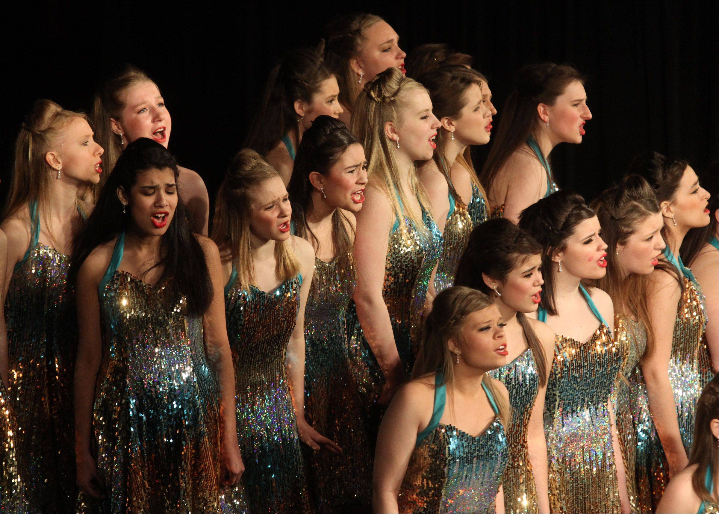 Leading Ladies of Rolling Meadows High School perform at the 20th annual Chicagoland Showcase hosted by Hersey High School in Arlington Heights on Saturday.